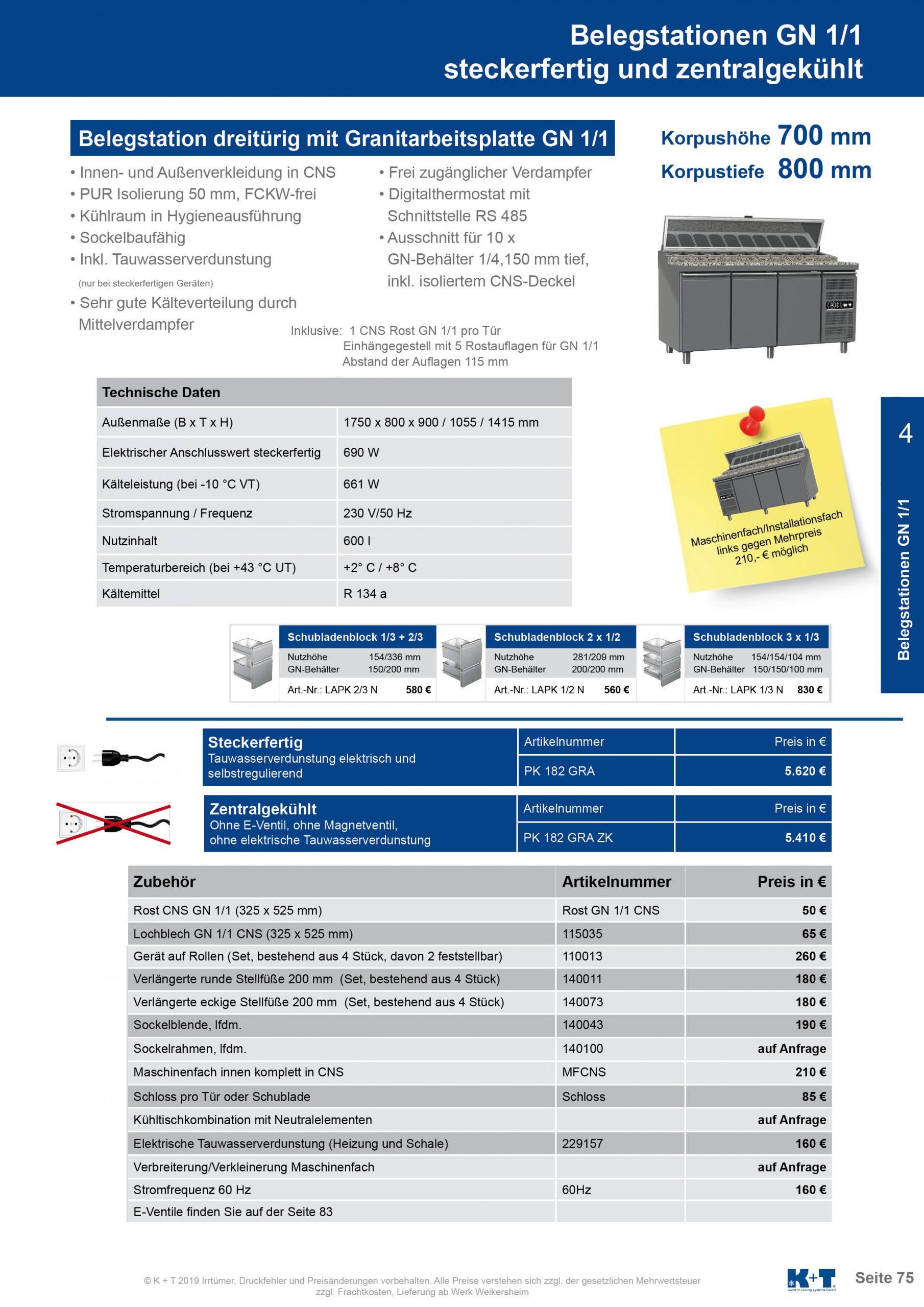 Belegstation GN 1_1 Korpushöhe 700, Tiefe 800 zentralgekühlt 4