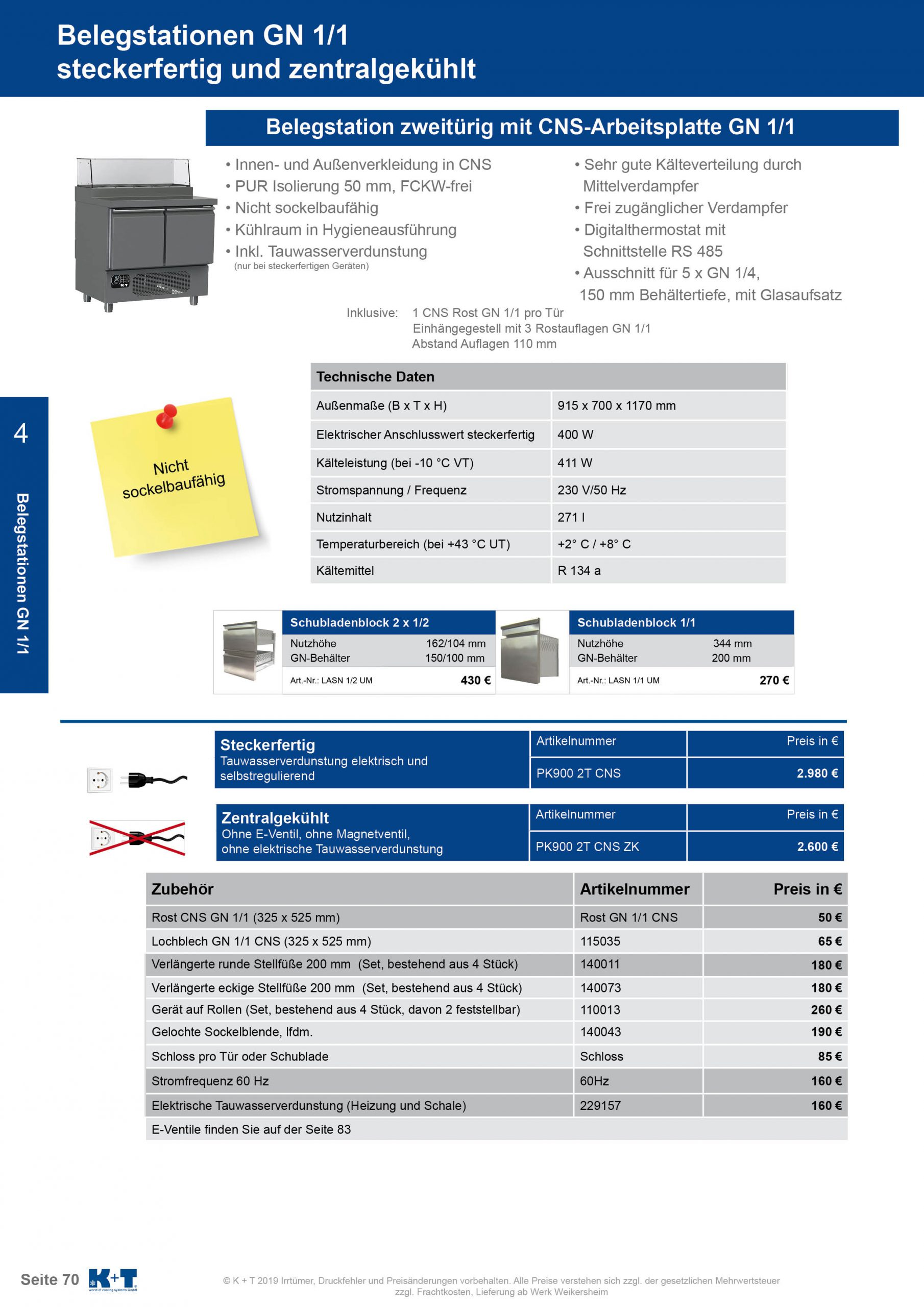 Belegstation mit untergebautem Aggregat zentralgekühlt 1