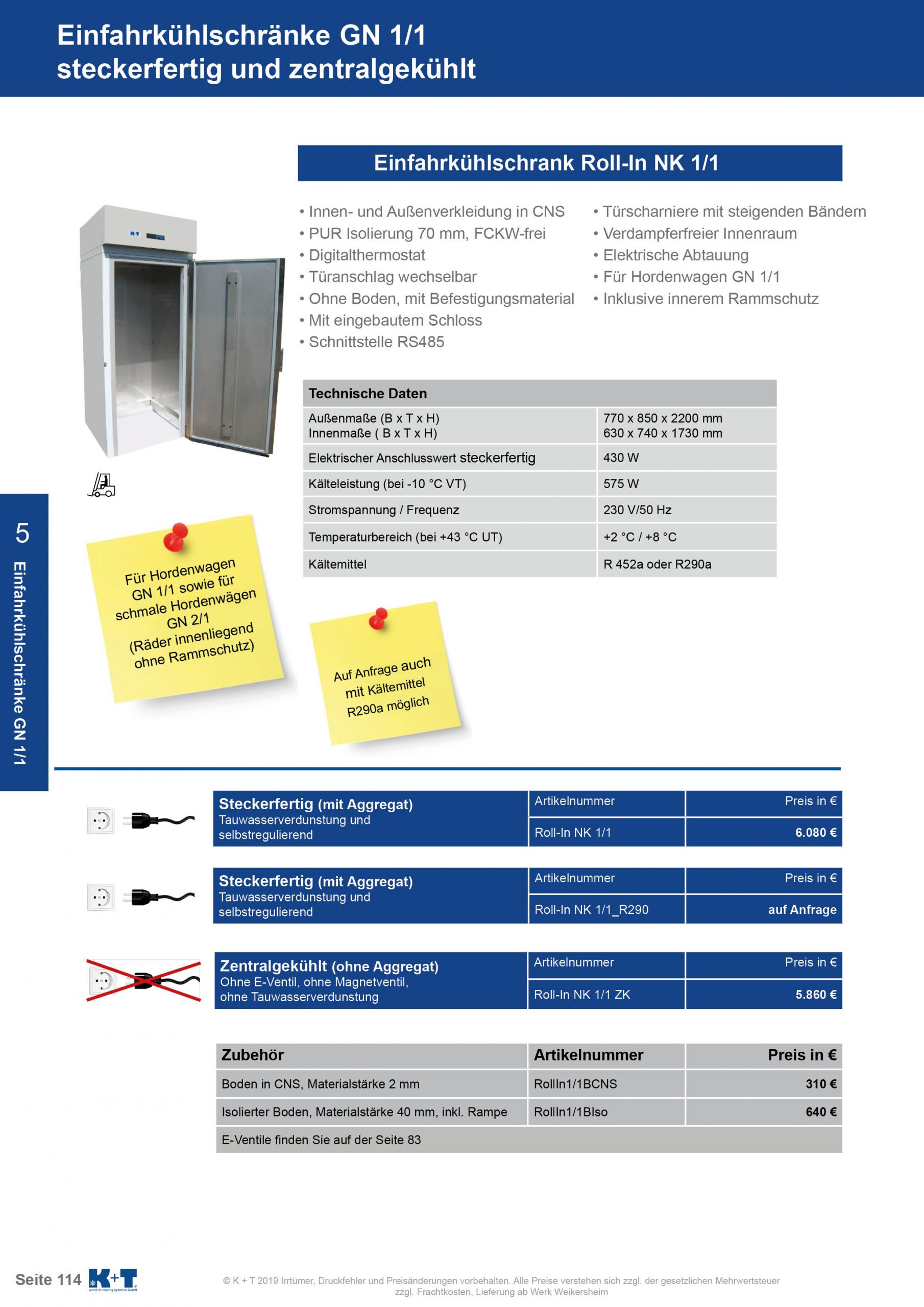 Einfahrkühlschrank GN 1_1 zentralgekühlt