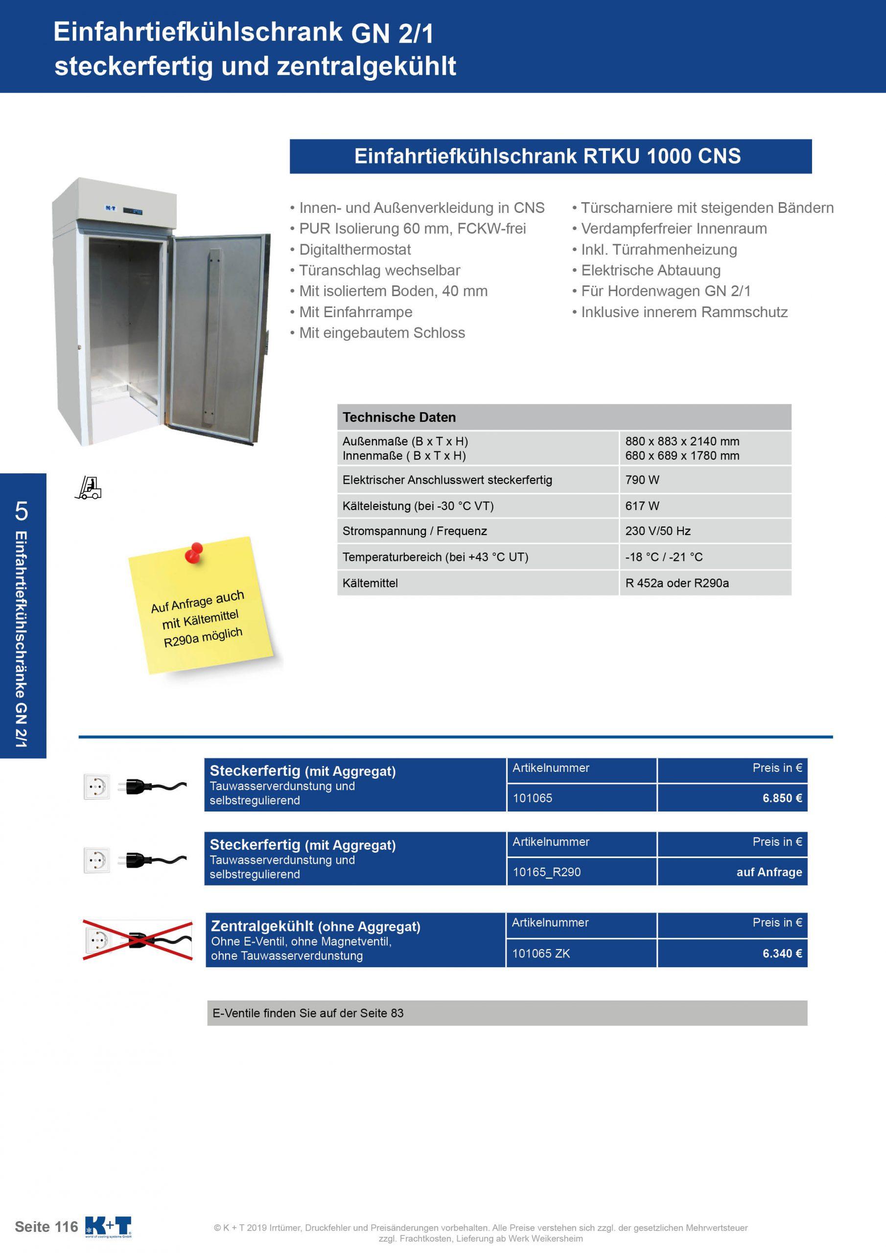 Einfahrtiefkühlschrank GN 2_1 zentralgekühlt