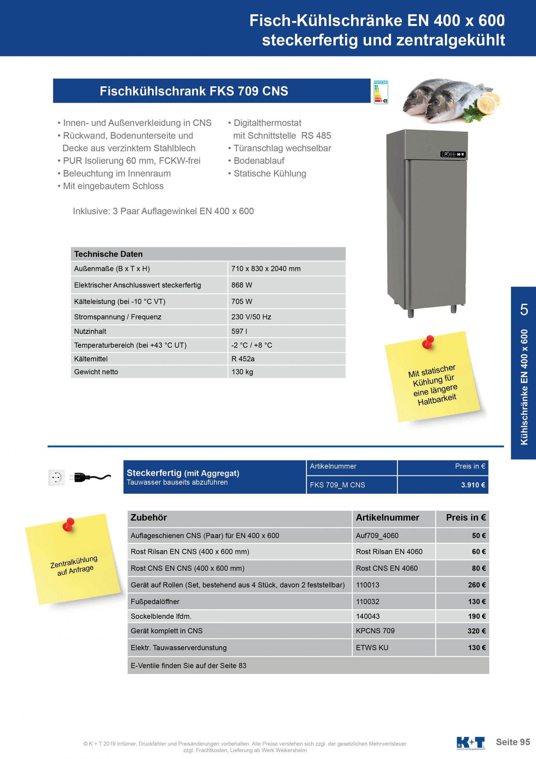 Kühl- Tiefkühlschränke für spezielle Anforderungen Fischkühlschrank Euronorm 400 x 600