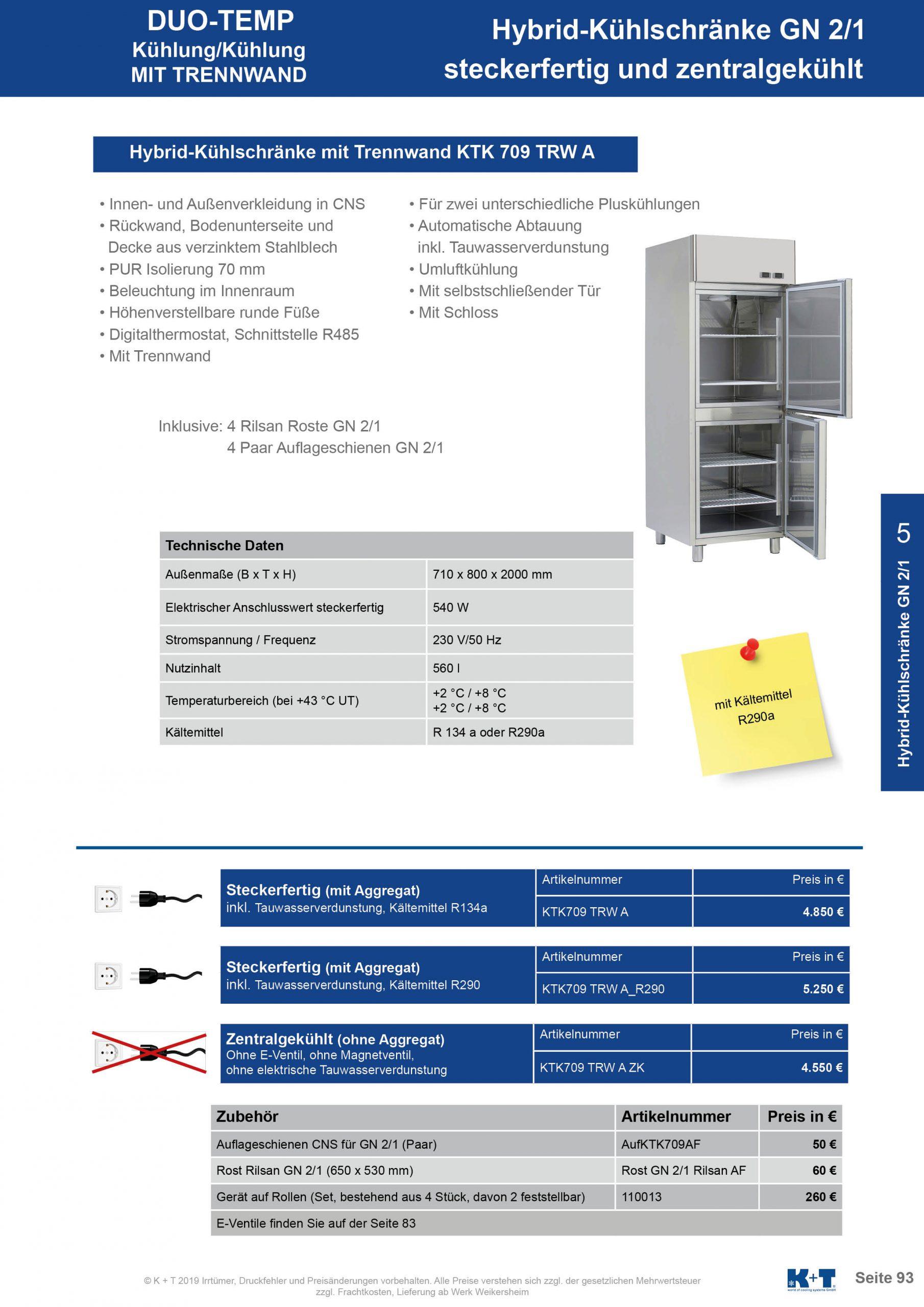 Kühl- Tiefkühlschränke für spezielle Anforderungen Kühl- Kühlkombischrank GN 2_1 steckerfertig