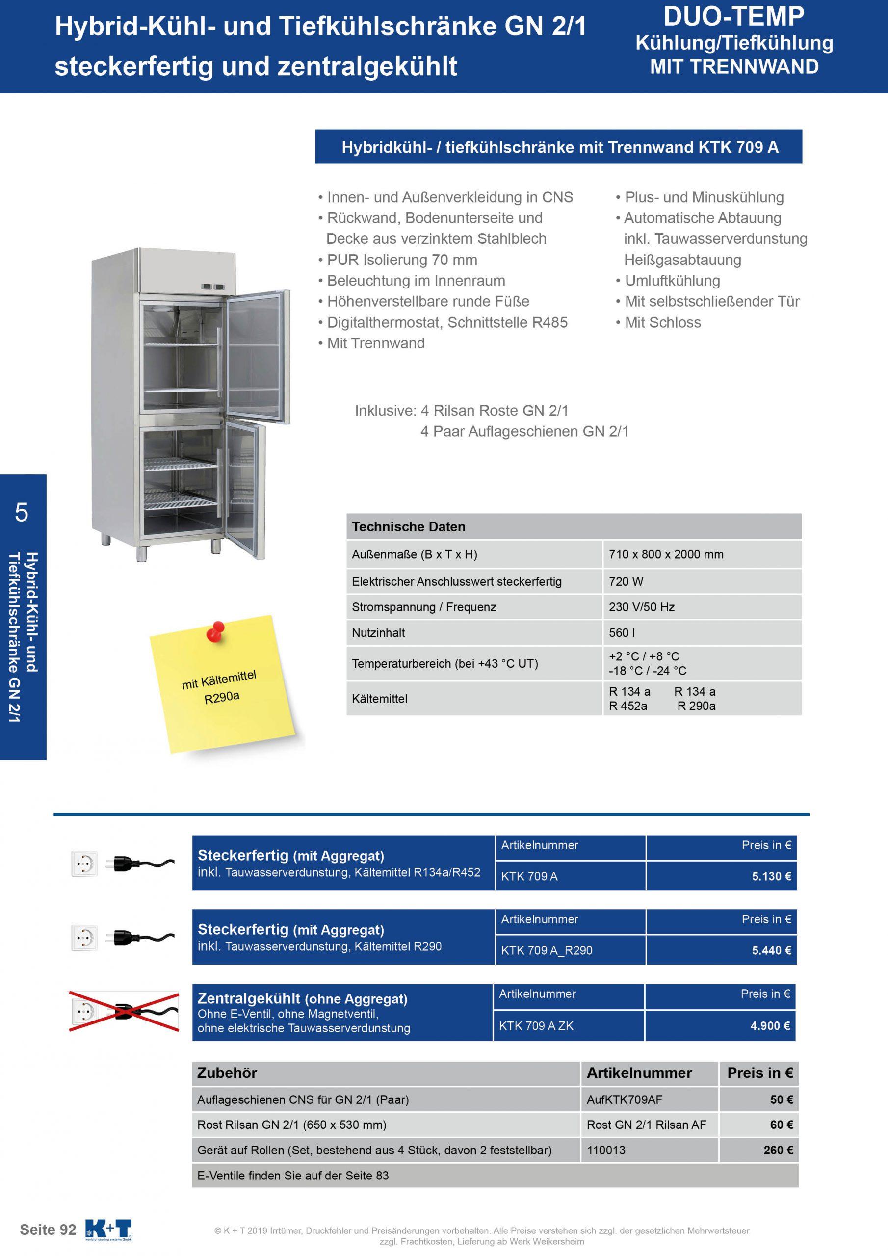 Kühl- Tiefkühlschränke für spezielle Anforderungen Kühl- Tiefkühlkombischrank GN 2_1 steckerfertig