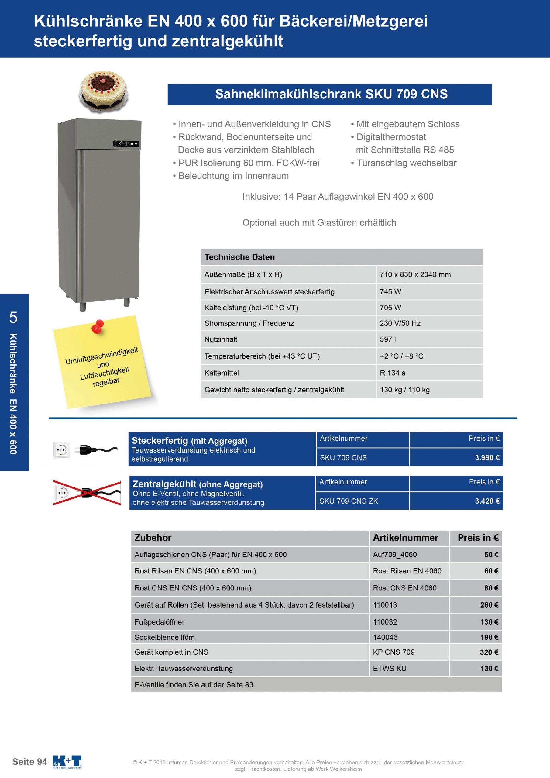 Kühl- Tiefkühlschränke für spezielle Anforderungen Sahneklimaschrank Euronorm 400 x 600