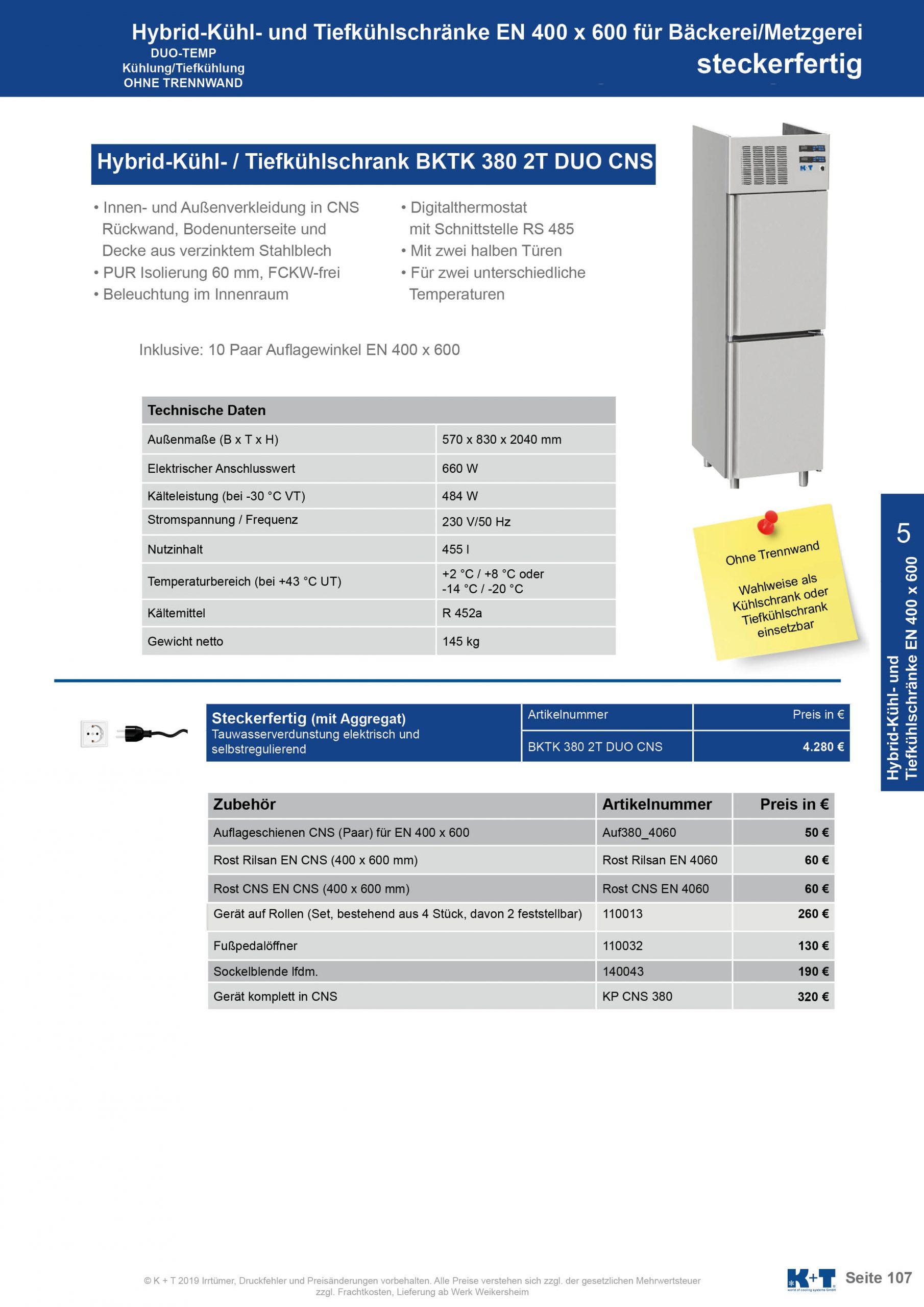 Kühl- Tiefkühlschränke für spezielle Anforderungen Umschaltbarer Kühl- Tiefkühlschrank mit 2 halben Türen Euronorm 400 x 600