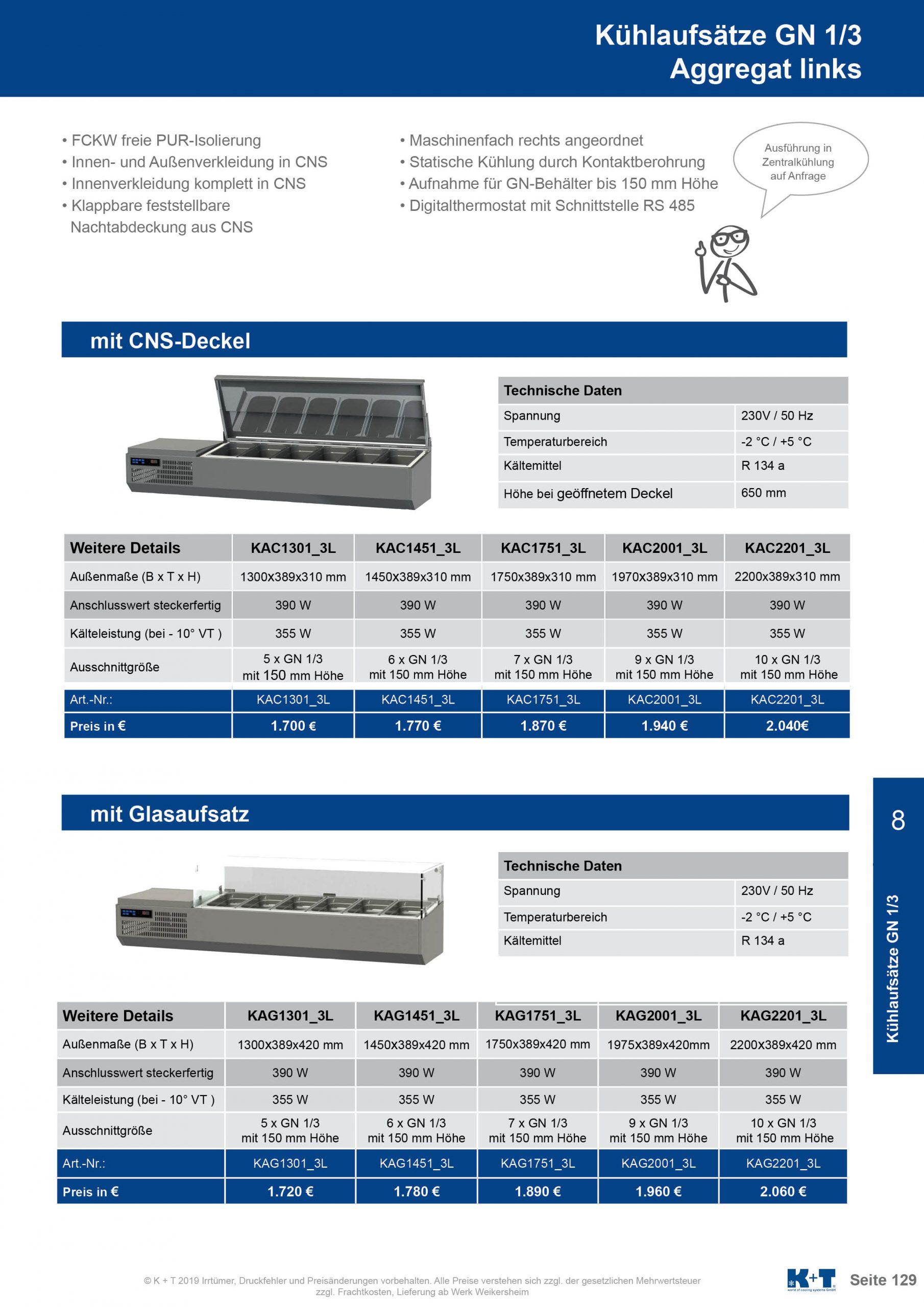 Kühlaufsätze GN 1_3 Aggregat links