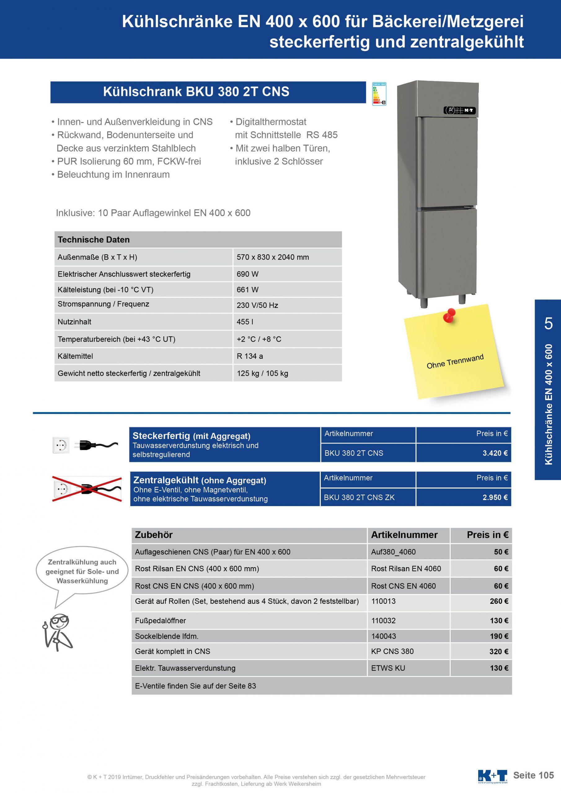 Kühlschränke Euronorm 400 x 600 Kühlschrank mit 2 halben Türen zentralgekühlt