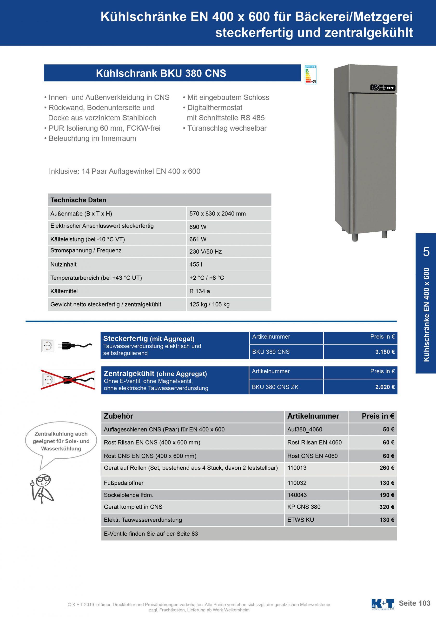 Kühlschränke Euronorm 400 x 600 Kühlschrank zentralgekühlt