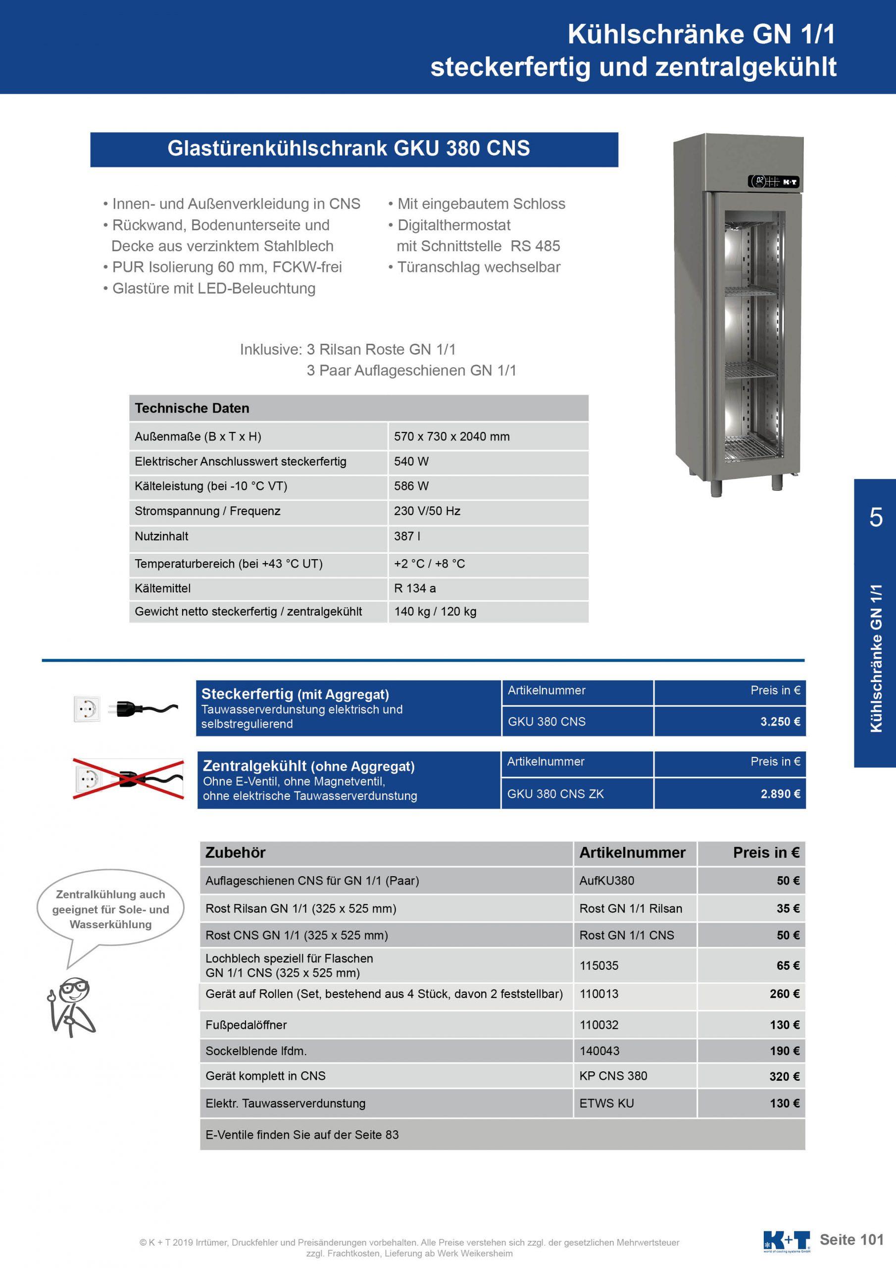 Kühlschränke GN 1_1 Glastürenkühlschrank zentralgekühlt