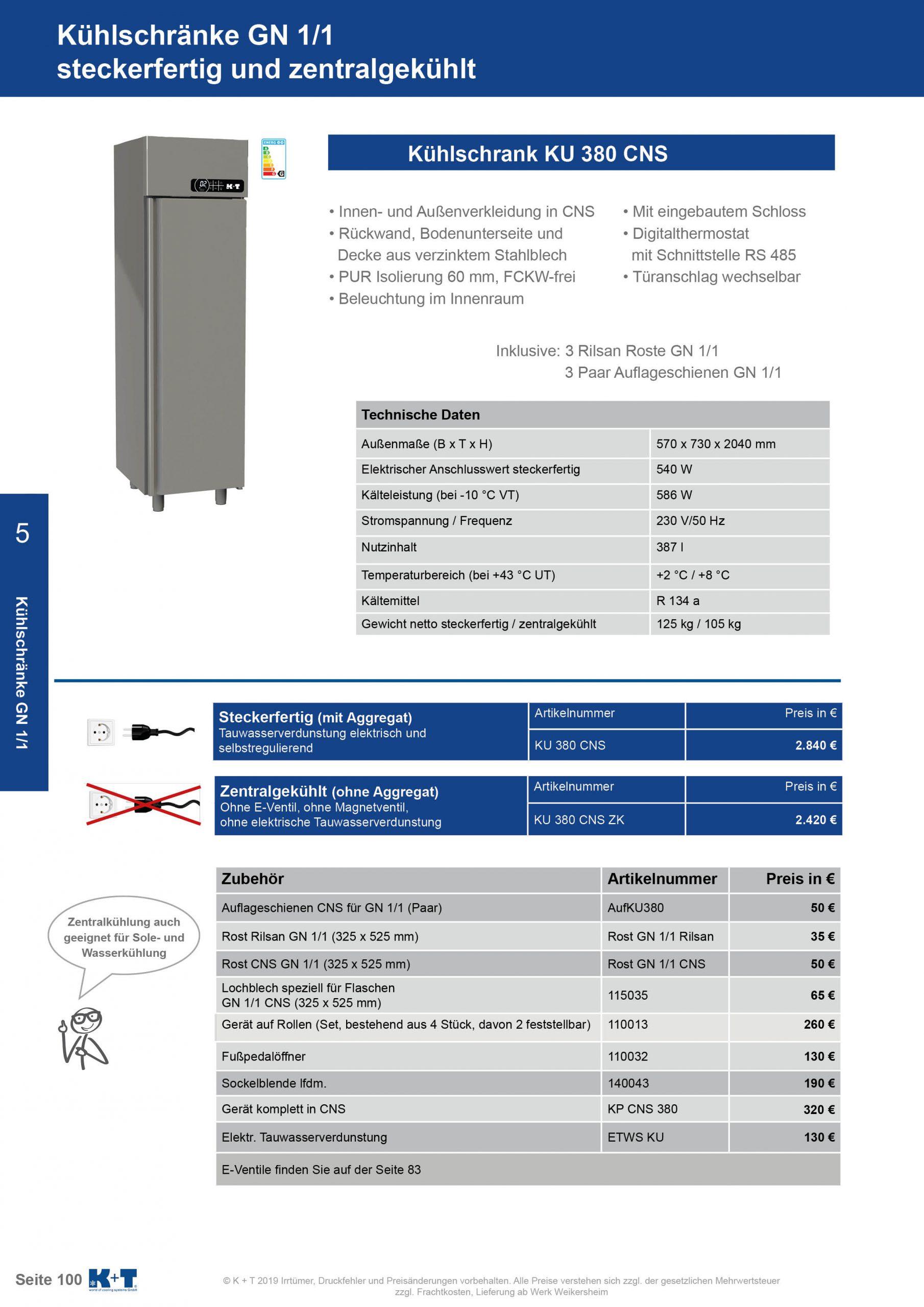 Kühlschränke GN 1_1 Kühlschrank zentralgekühlt