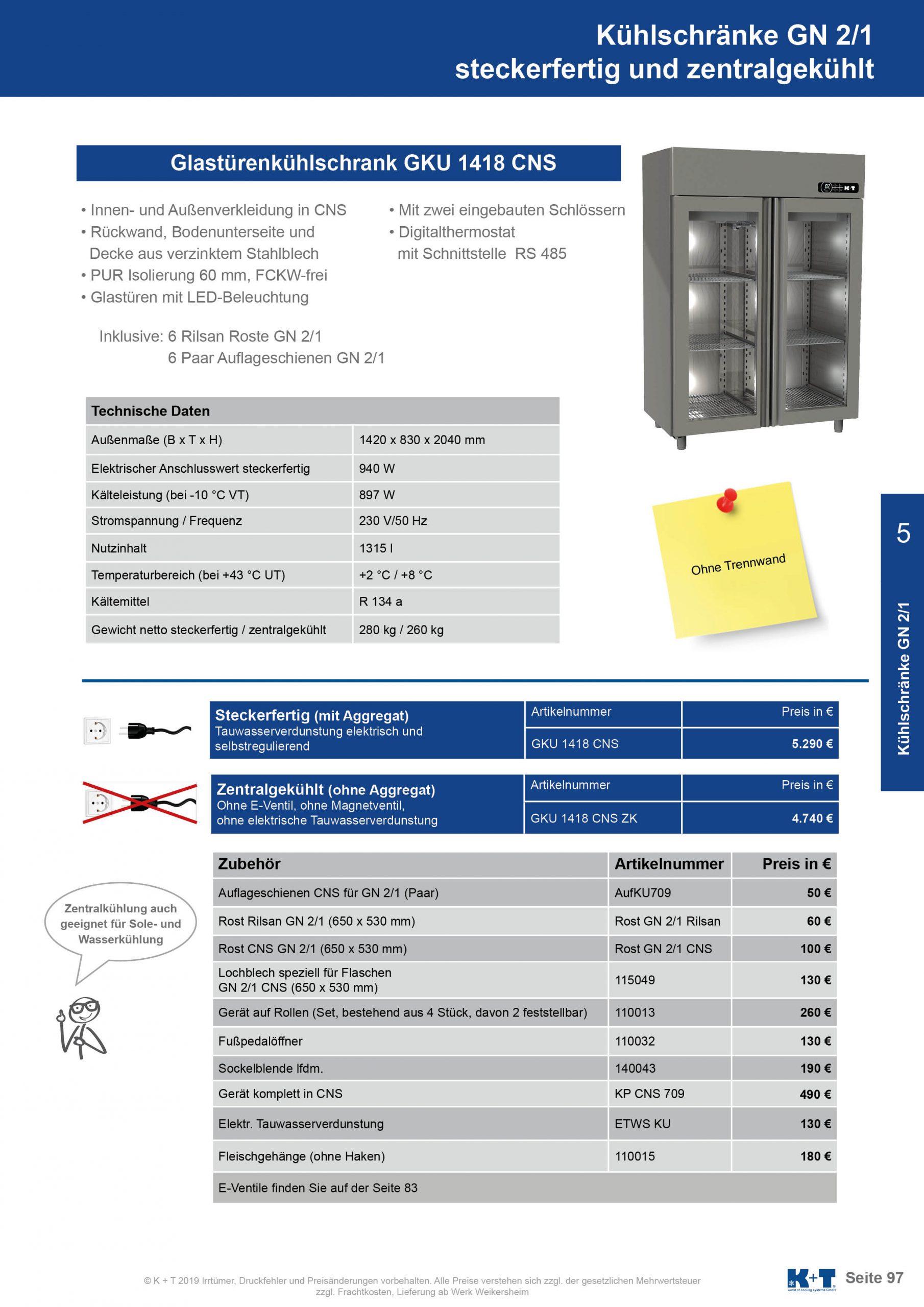 Kühlschränke GN 2_1 Doppelglastürenkühlschrank zentralgekühlt