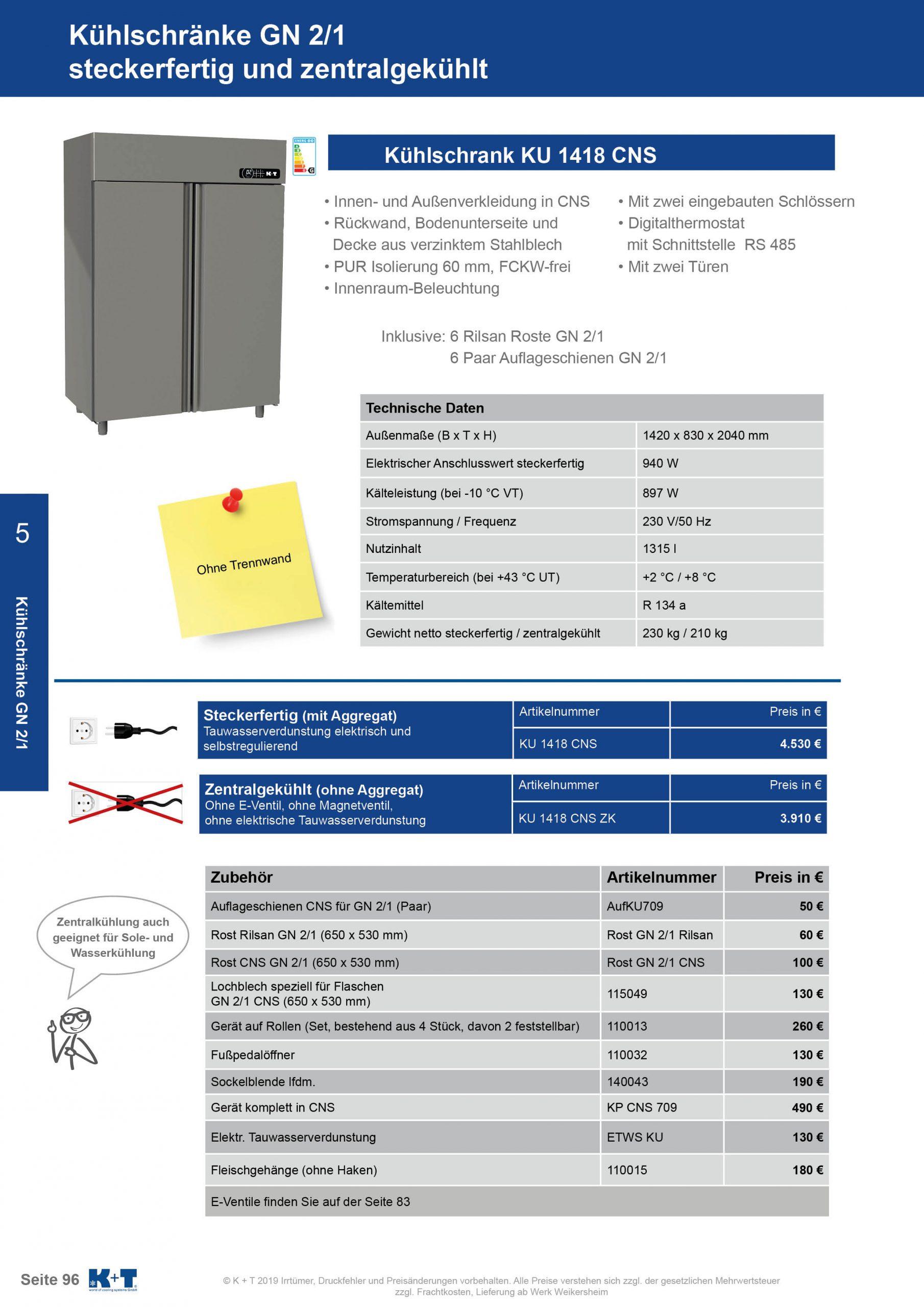 Kühlschränke GN 2_1 Doppeltürenkühlschrank zentralgekühlt