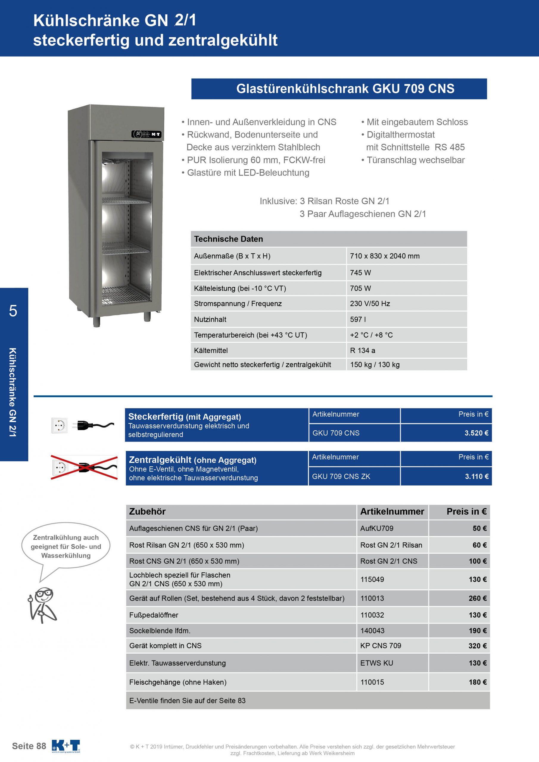 Kühlschränke GN 2_1 Glastürenkühlschrank steckerfertig
