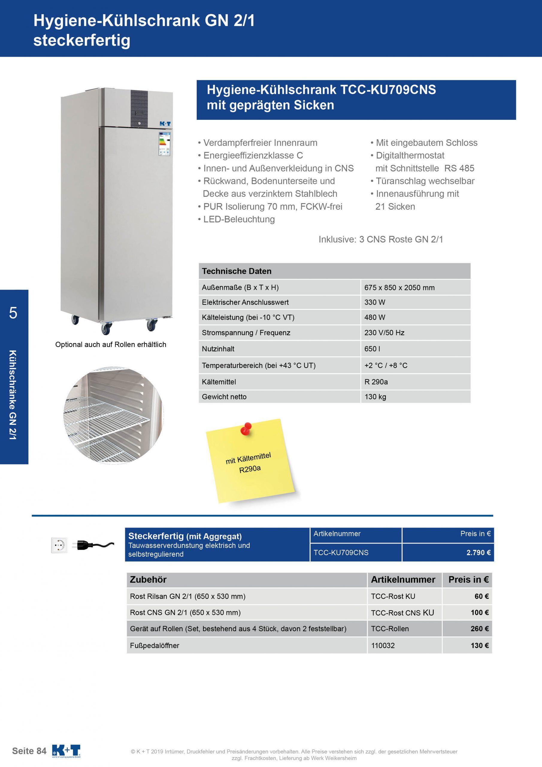 Kühlschränke GN 2_1 Hygienekühlschrank steckerfertig