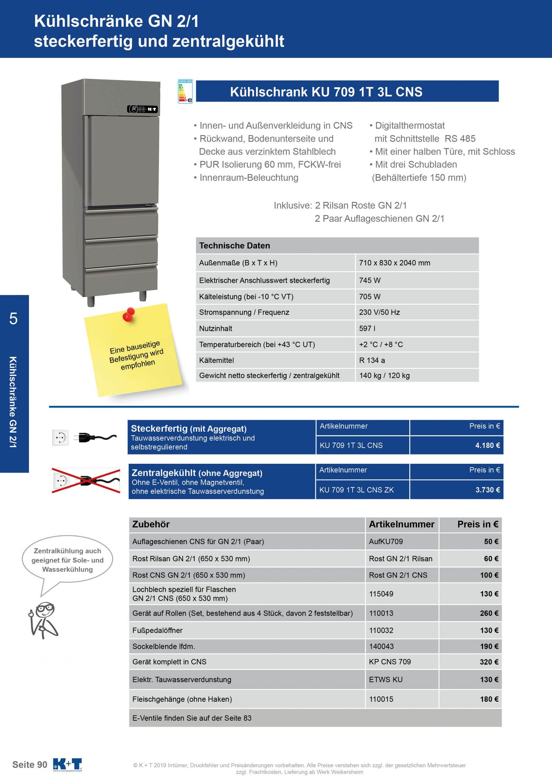 Kühlschränke GN 2_1 Kühlschrank mit ½ Tür und 3 Schubladen zentralgekühlt