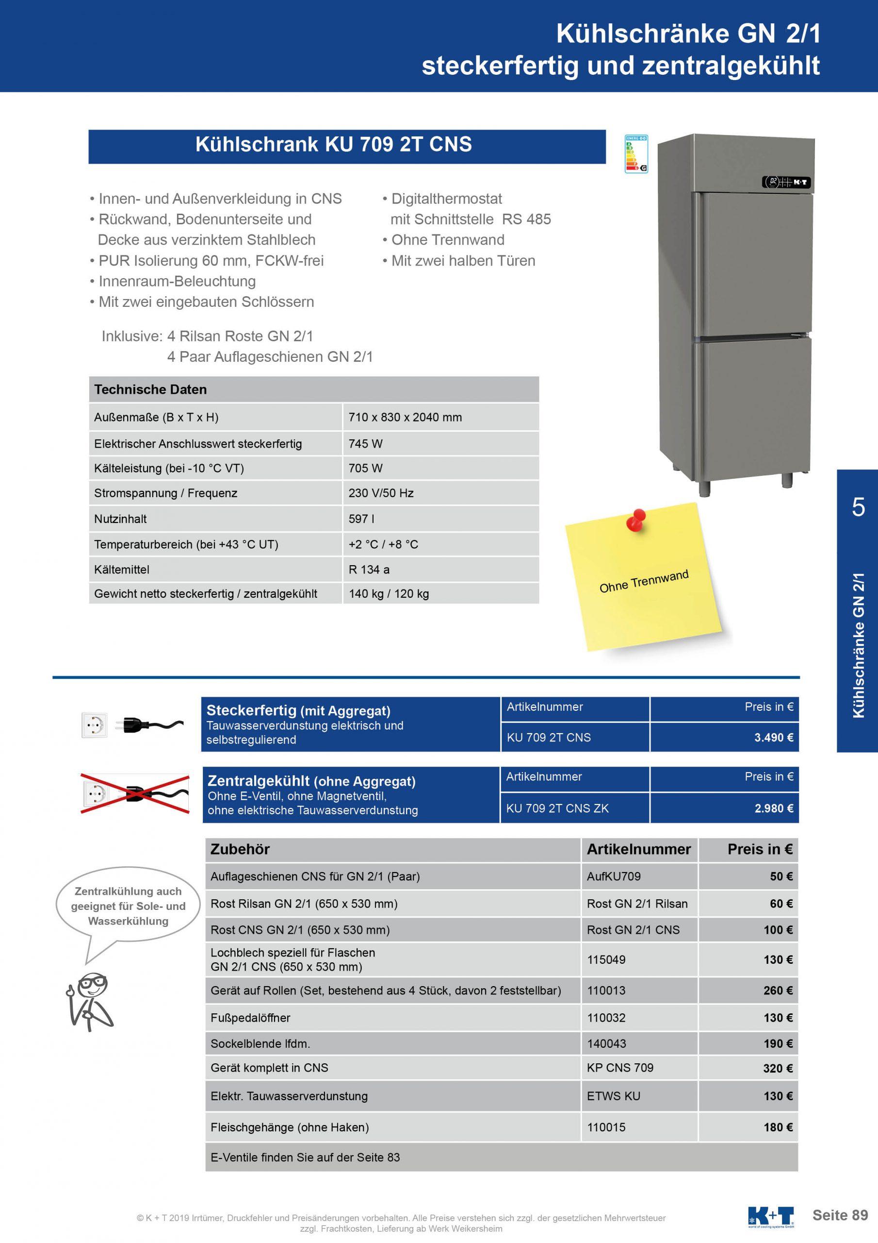 Kühlschränke GN 2_1 Kühlschrank mit 2 halben Türen zentralgekühlt