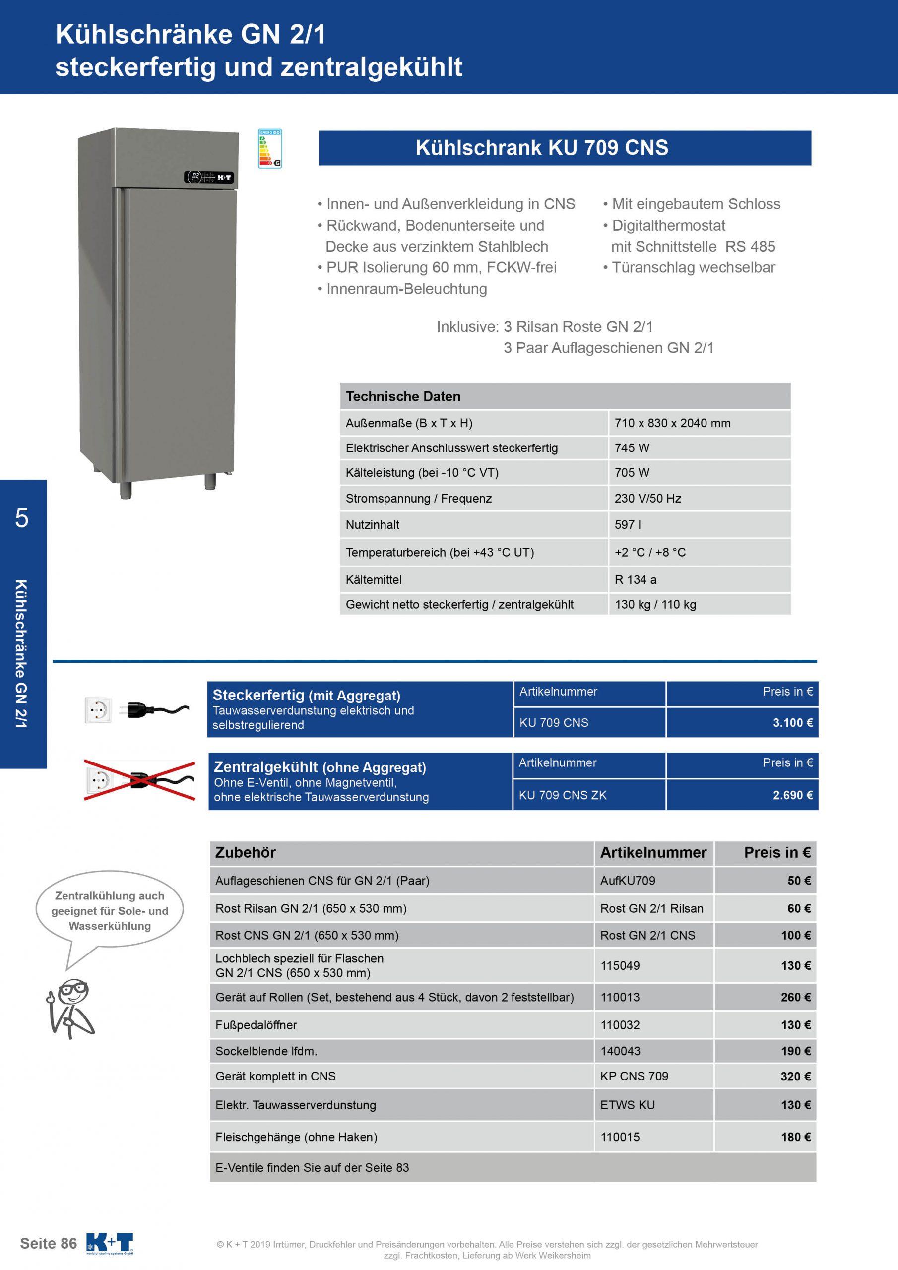 Kühlschränke GN 2_1 Kühlschrank zentralgekühlt