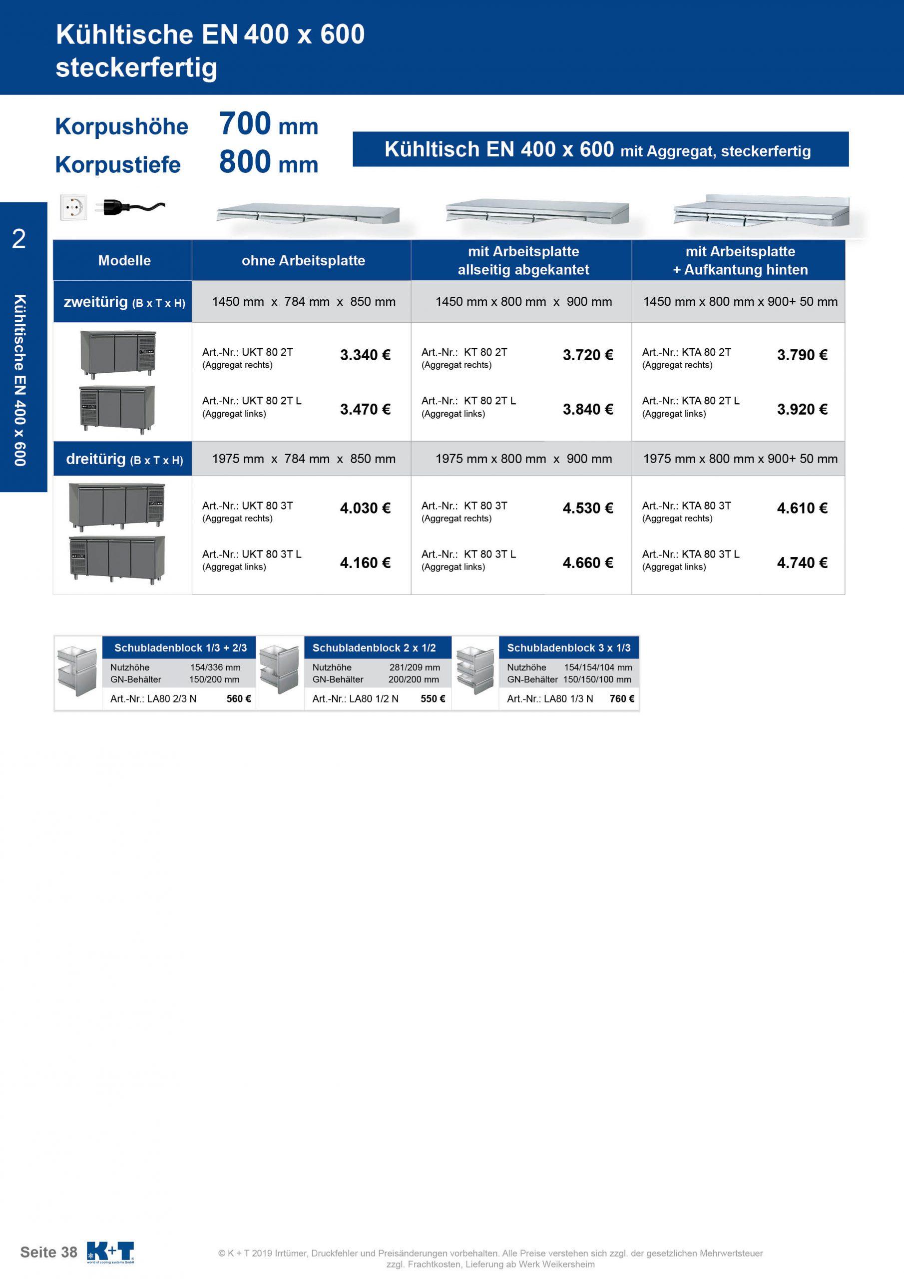 Kühltisch Euronorm 400 x 600 Korpus 700 steckerfertig 1