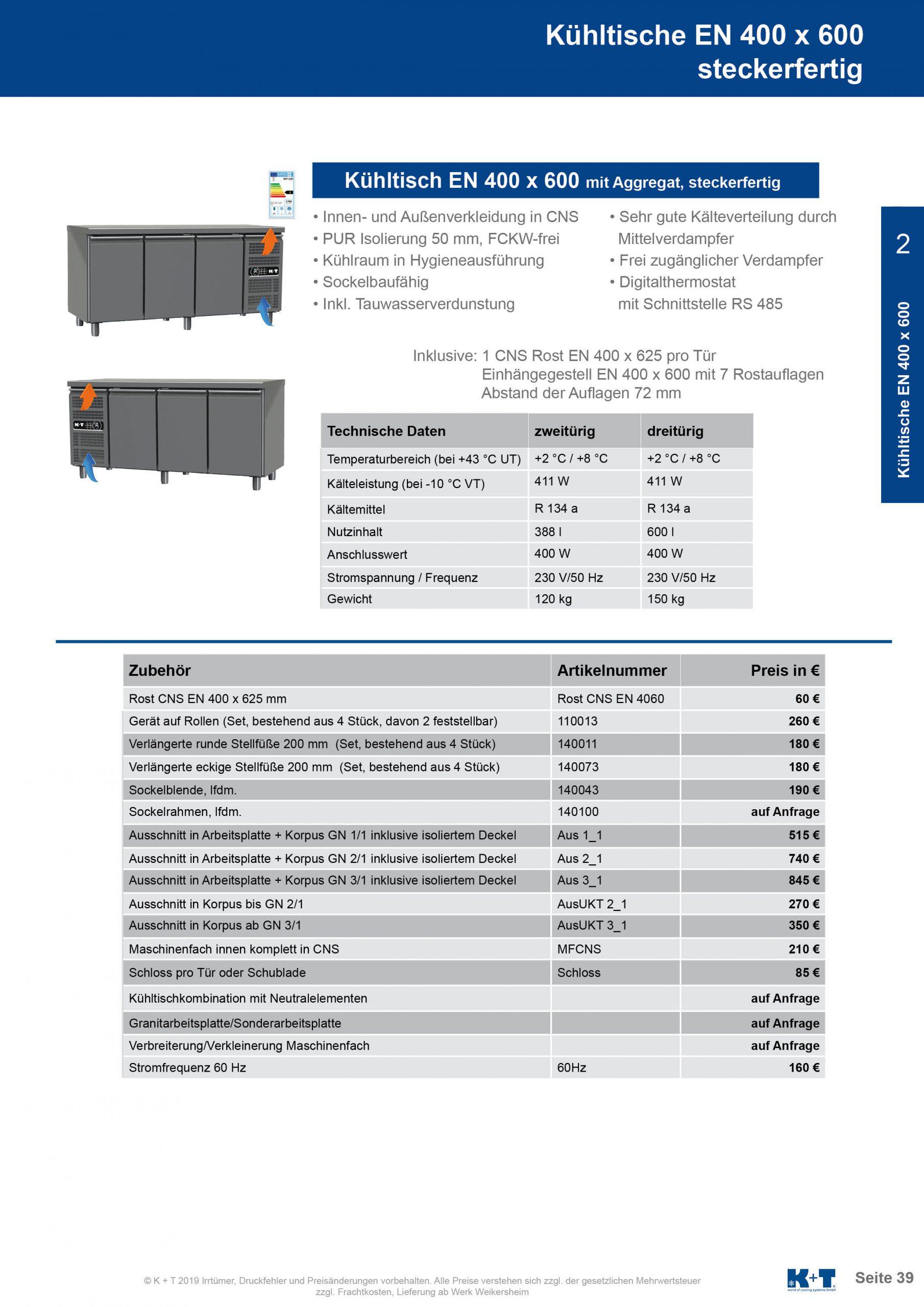 Kühltisch Euronorm 400 x 600 Korpus 700 steckerfertig 2