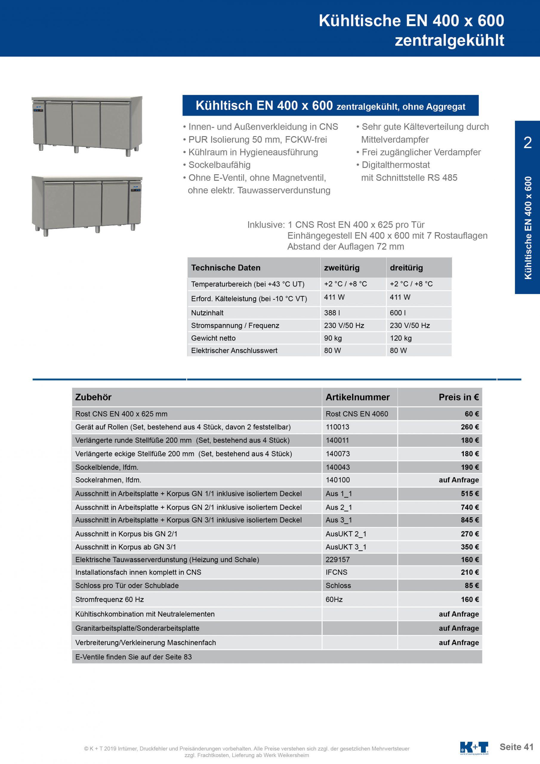 Kühltisch Euronorm 400 x 600 Korpus 700 zentralgekühlt 2