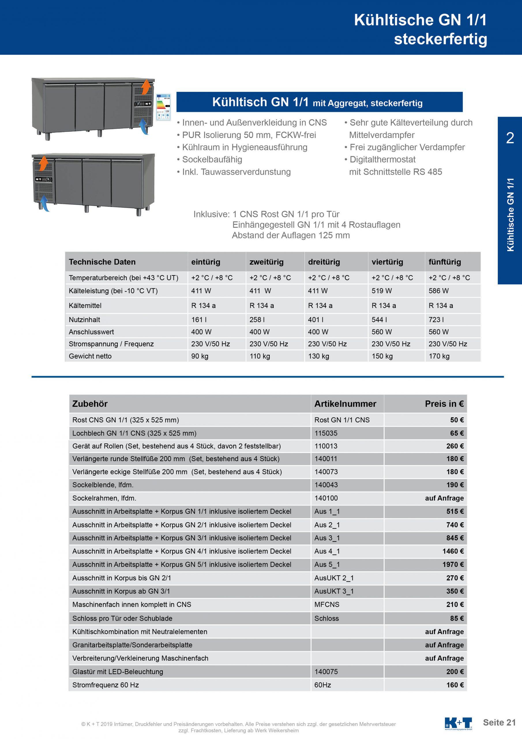 Kühltisch GN 1_1 Korpus 650 steckerfertig 2