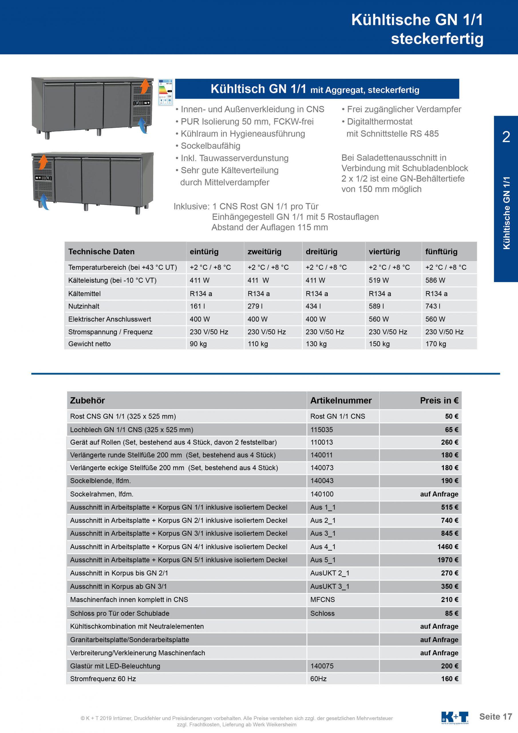 Kühltisch GN 1_1 Korpus 700 steckerfertig 2