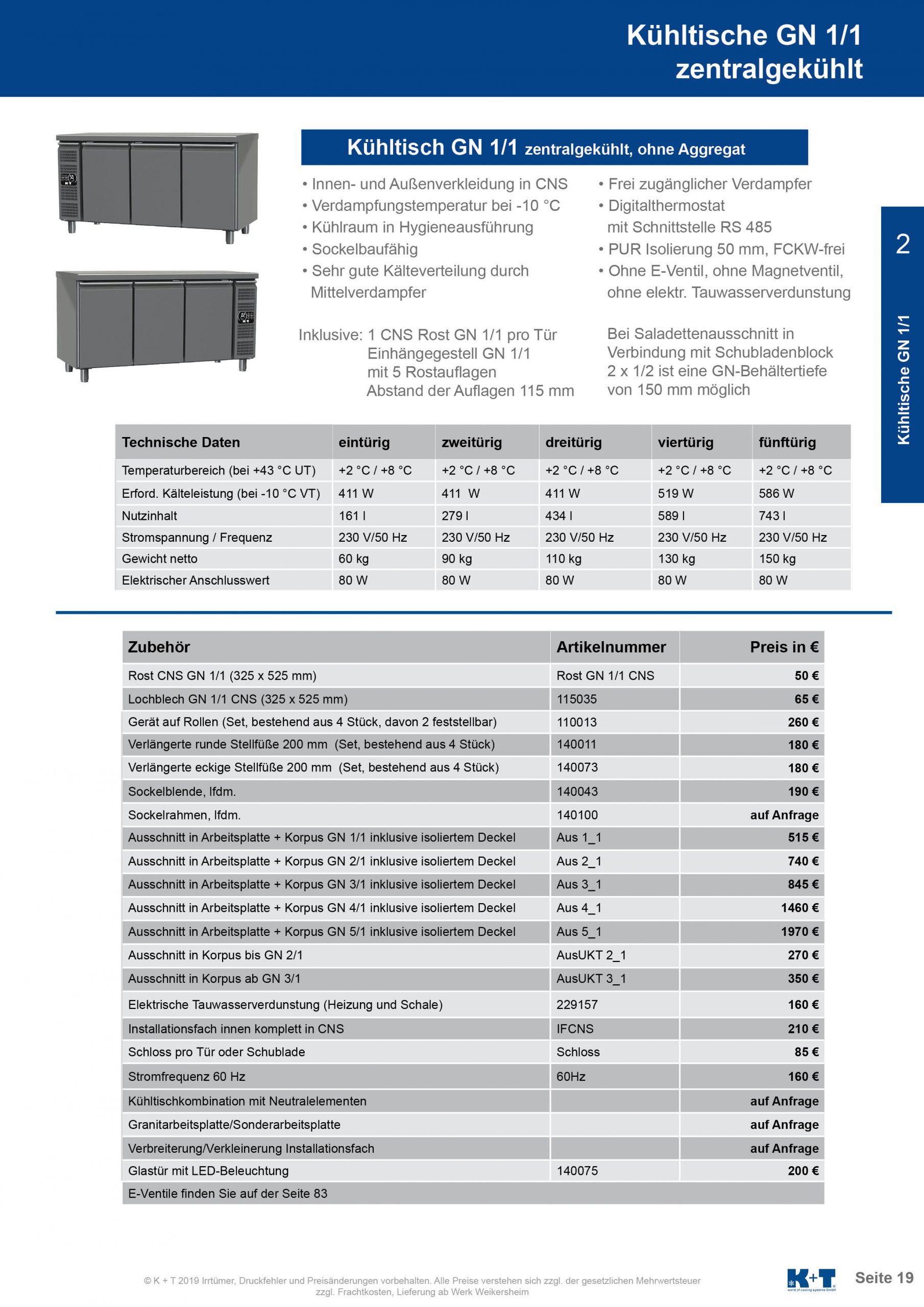 Kühltisch GN 1_1 Korpus 700 zentralegekühlt 2