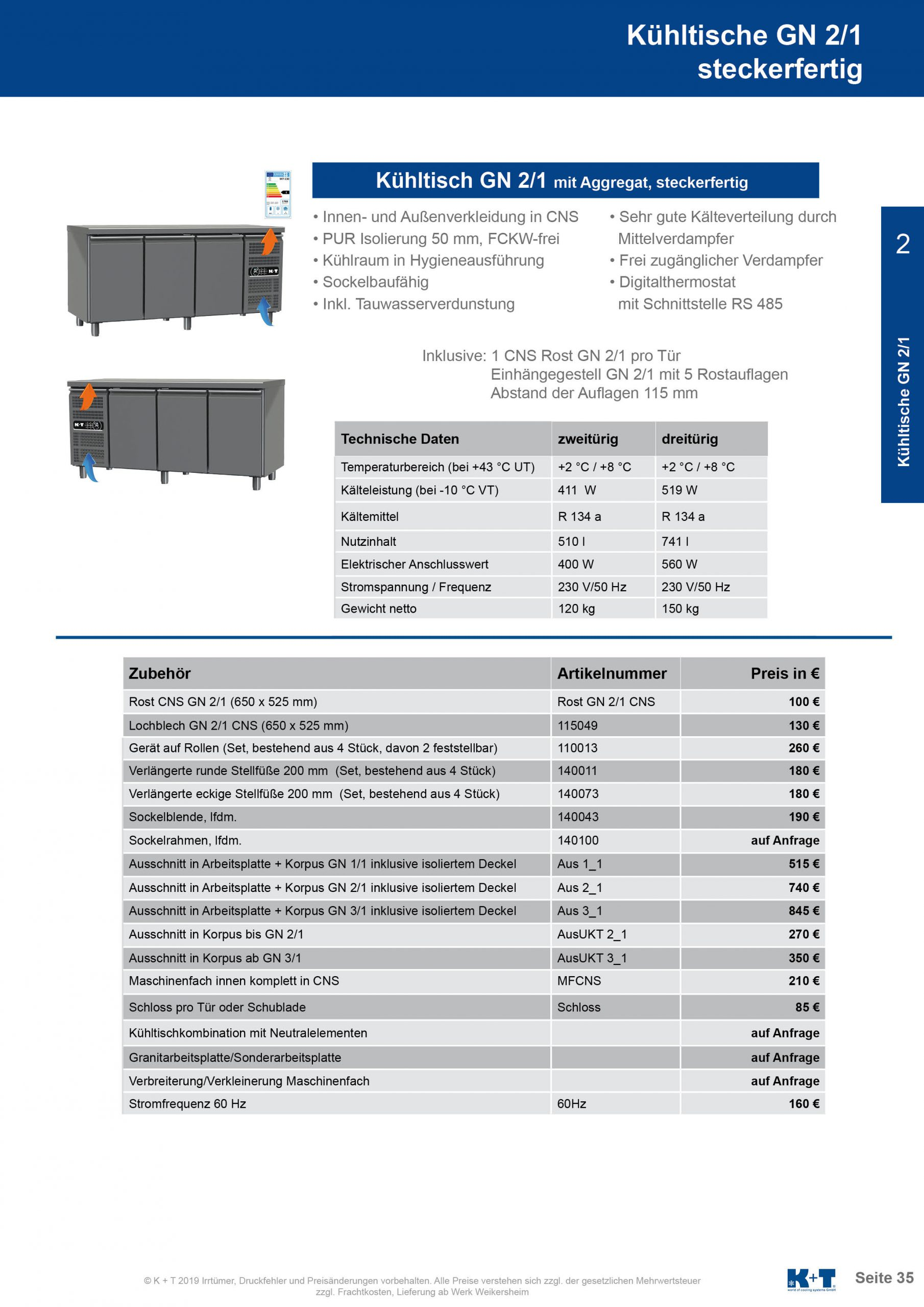 Kühltisch GN 2_1 Korpus 700 steckerfertig 2