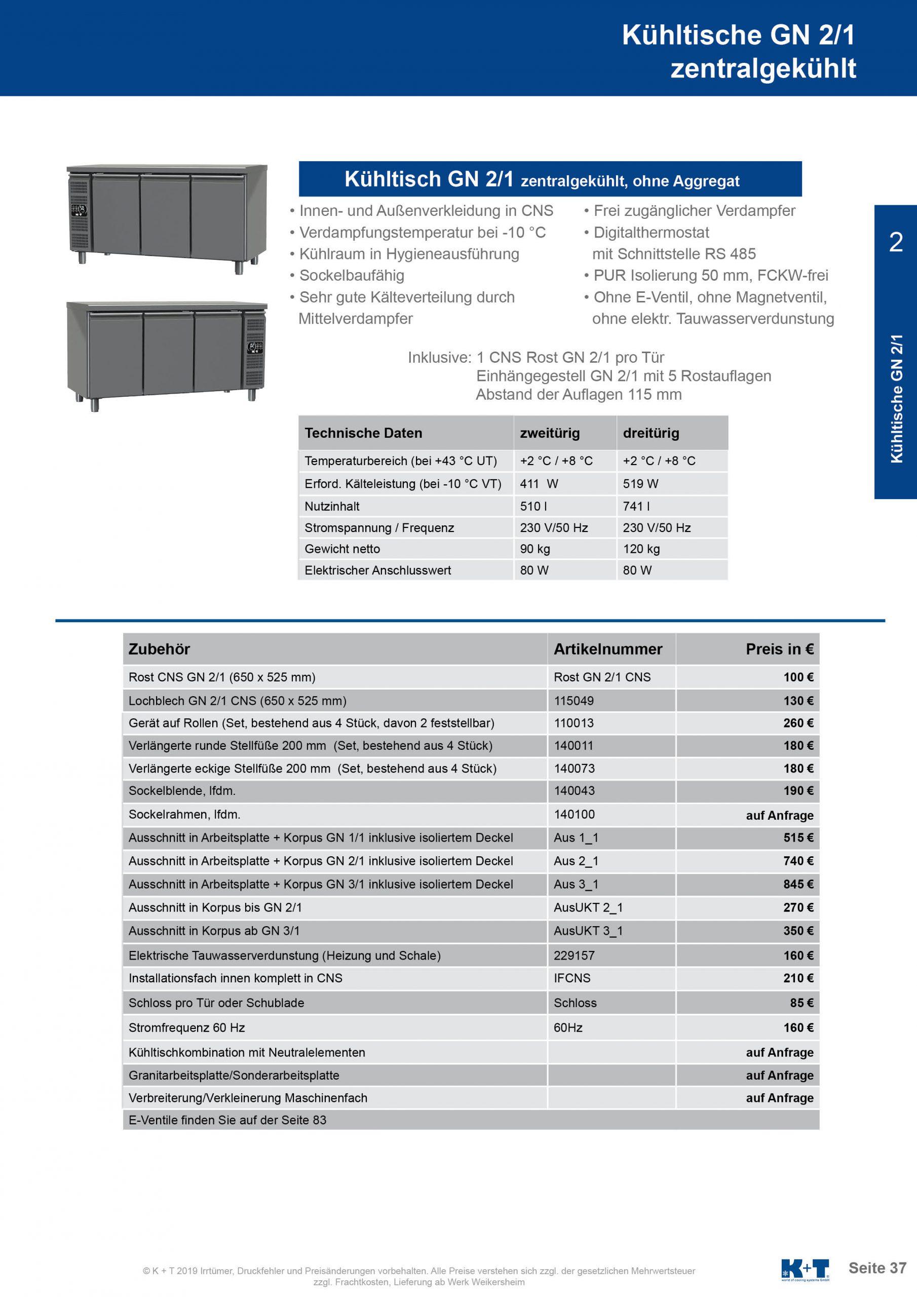 Kühltisch GN 2_1 Korpus 700 zentralgekühlt 2