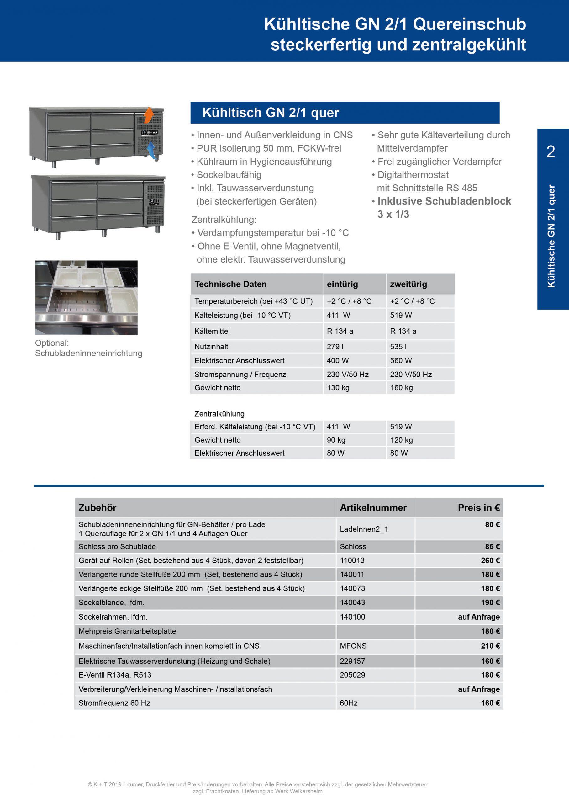 Kühltisch GN 2_1 Quereinschub Korpus 700 steckerfertig+zentralgekühlt 2