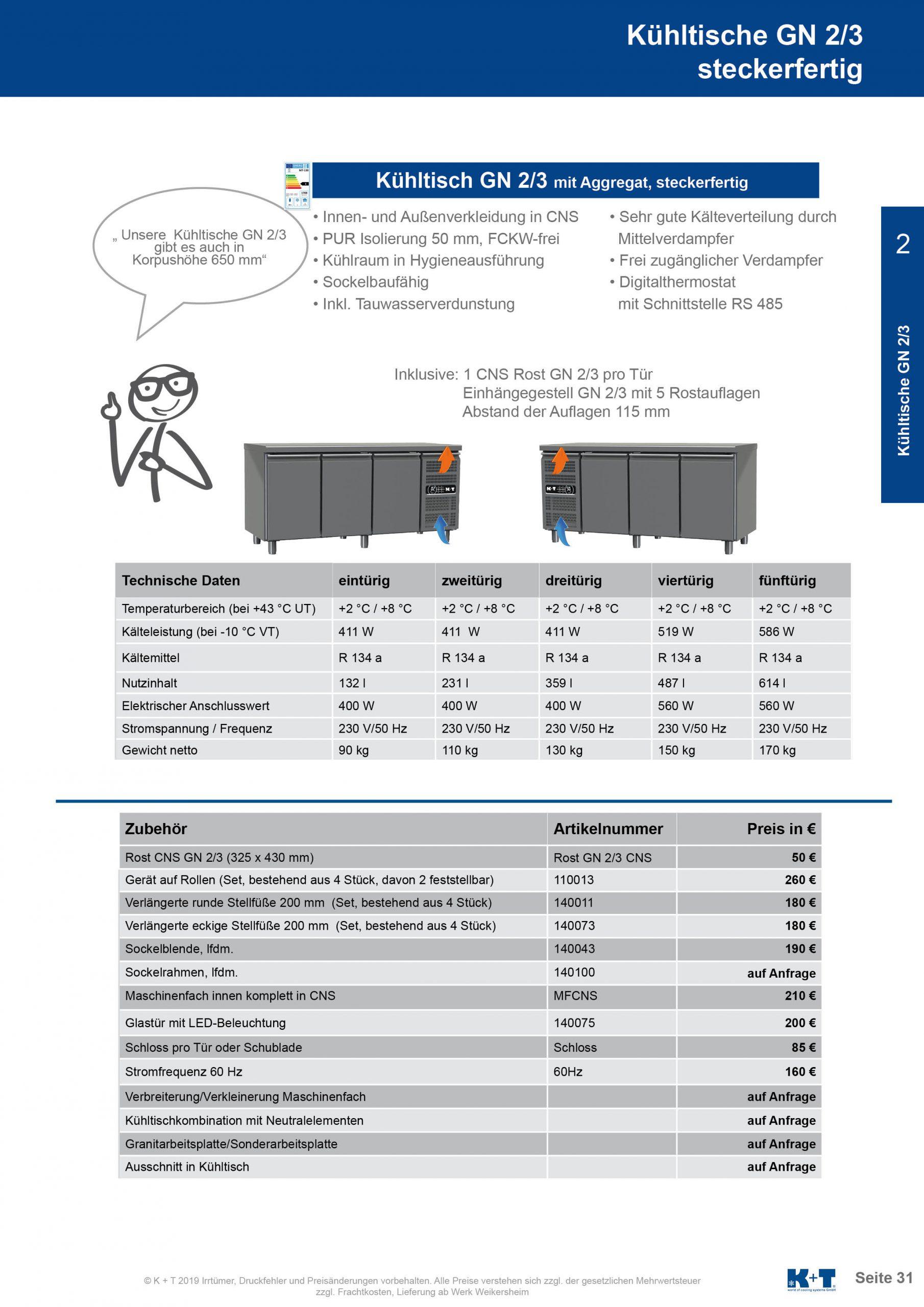 Kühltisch GN 2_3 Korpus 700 steckerfertig 2