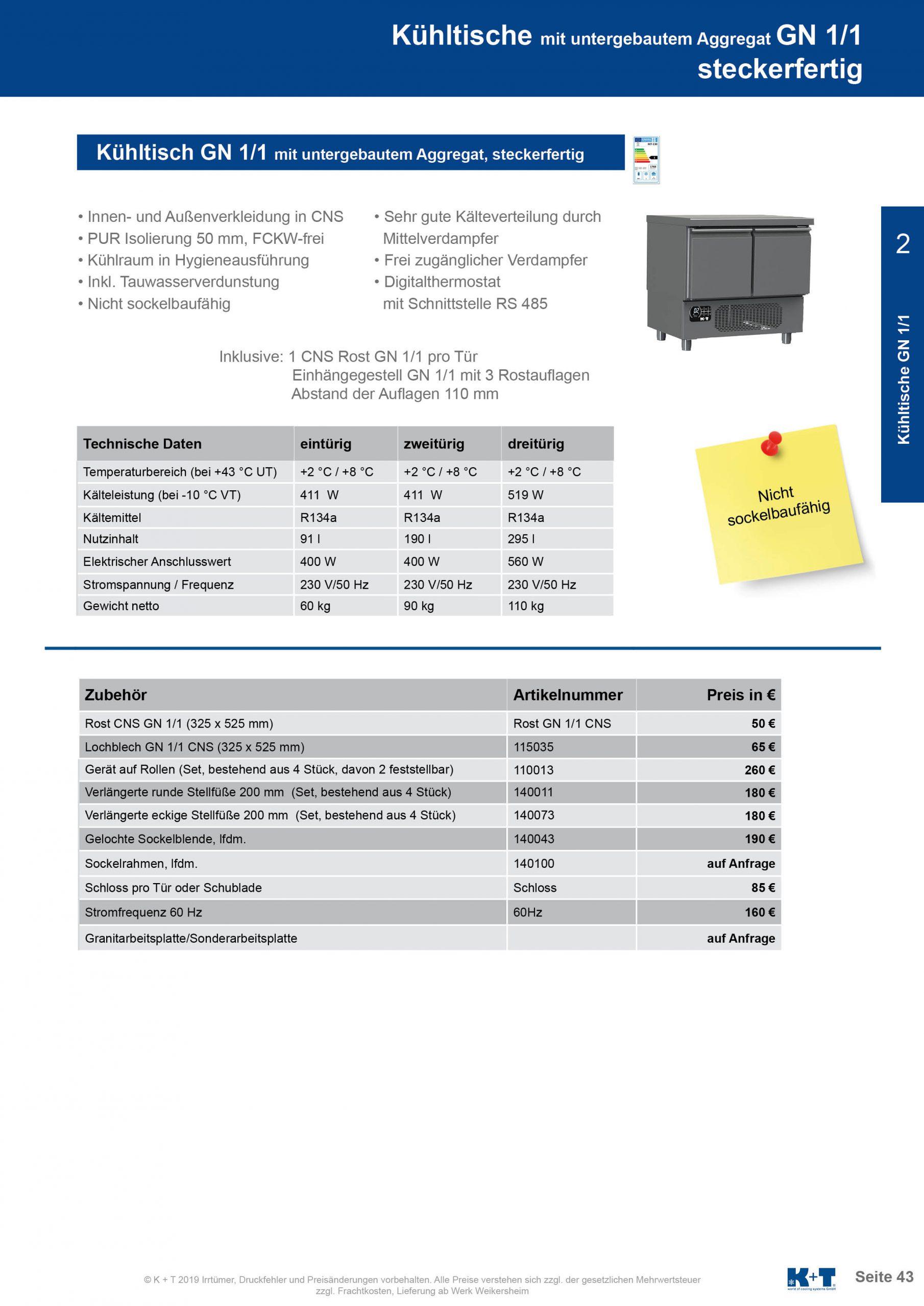 Kühltisch mit untergebautem Aggregat steckerfertig 2