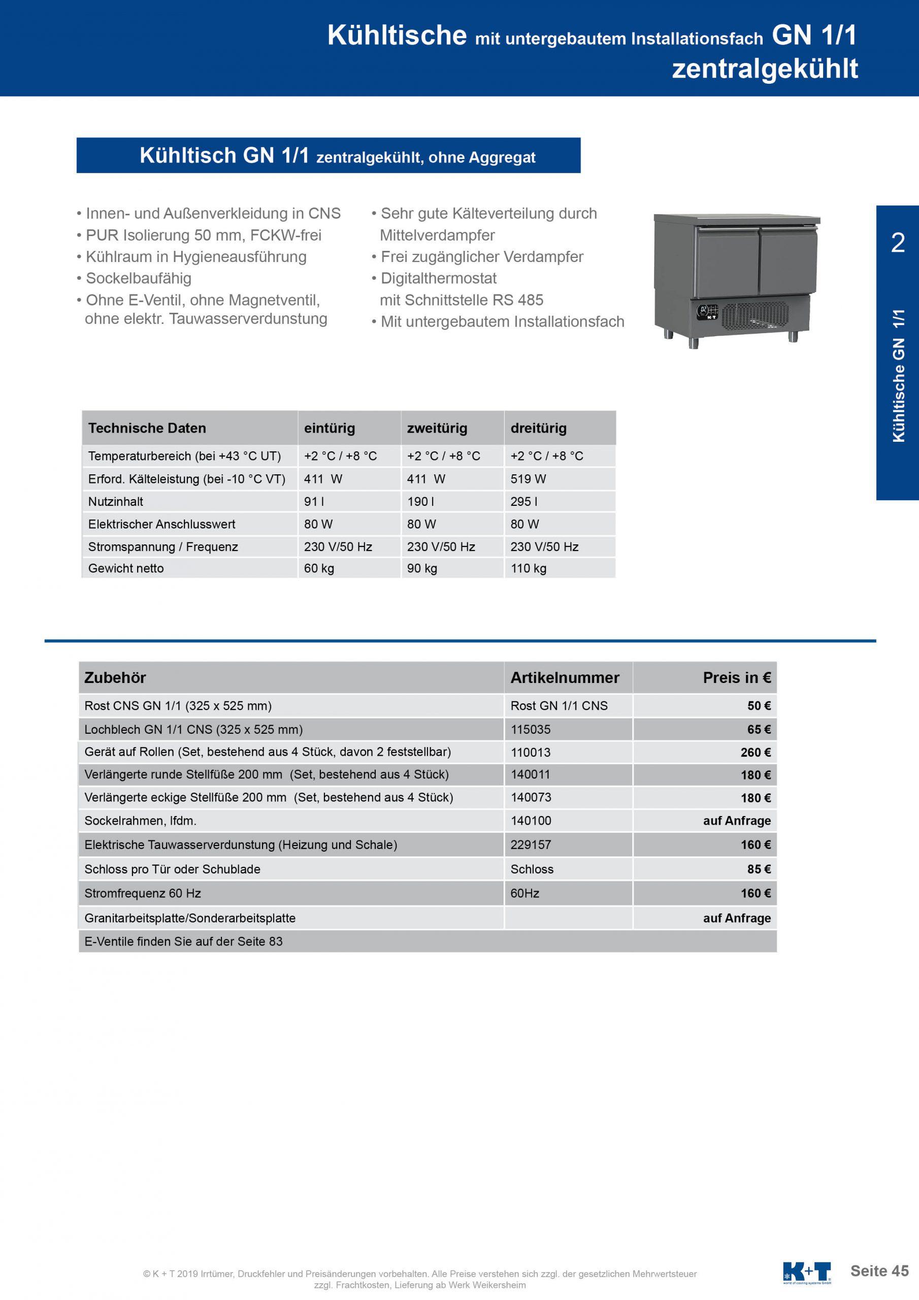 Kühltisch mit untergebautem Aggregat zentralgekühlt 2