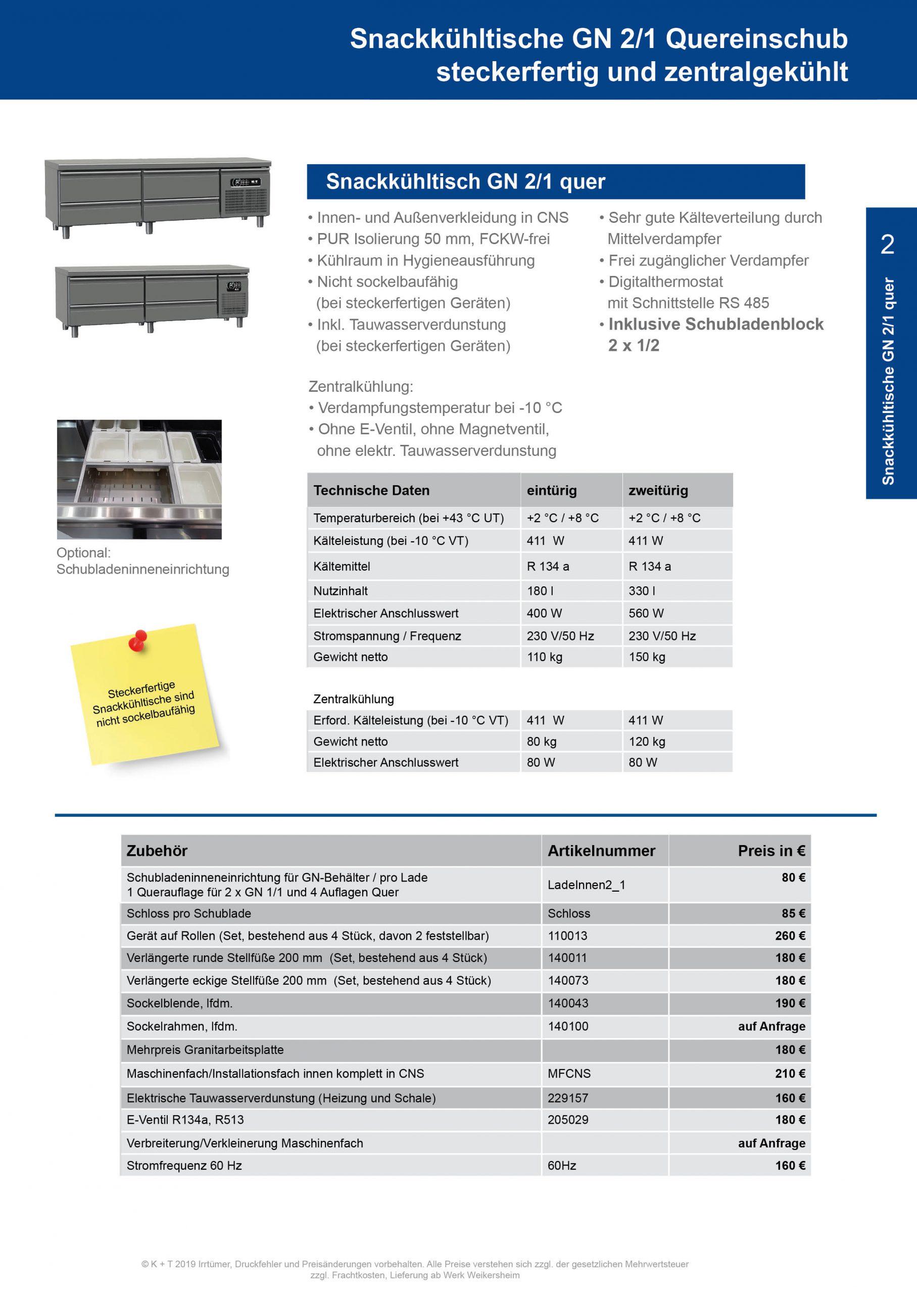 Snackkühltisch GN 2_1 Quereinschub Korpus 700 steckerfertig+zentralgekühlt 2