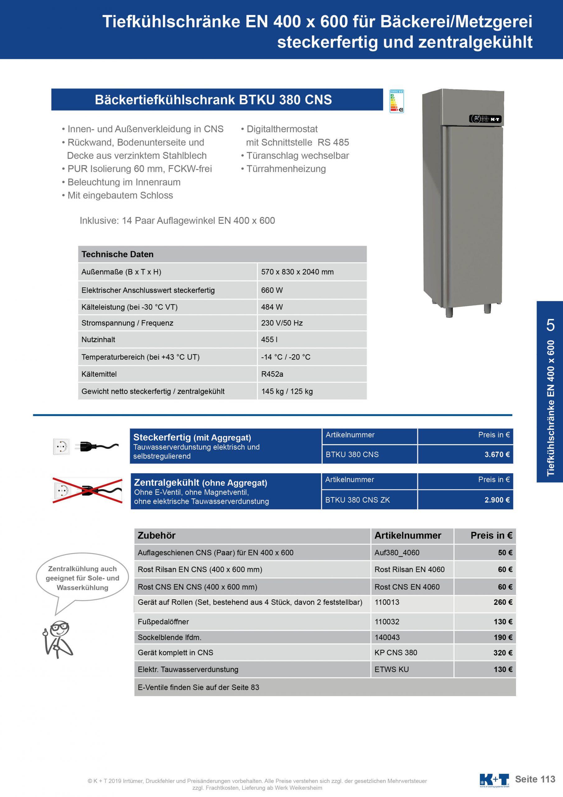 Tiefkühlschränke Euronorm 400 x 600 Tiefkühlschrank zentralgekühlt