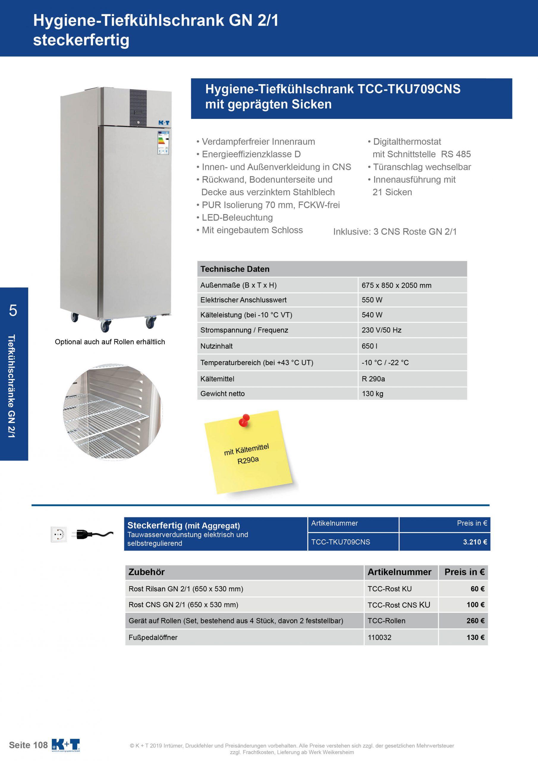 Tiefkühlschränke GN 2_1 Hygienetiefkühlschrank steckerfertig