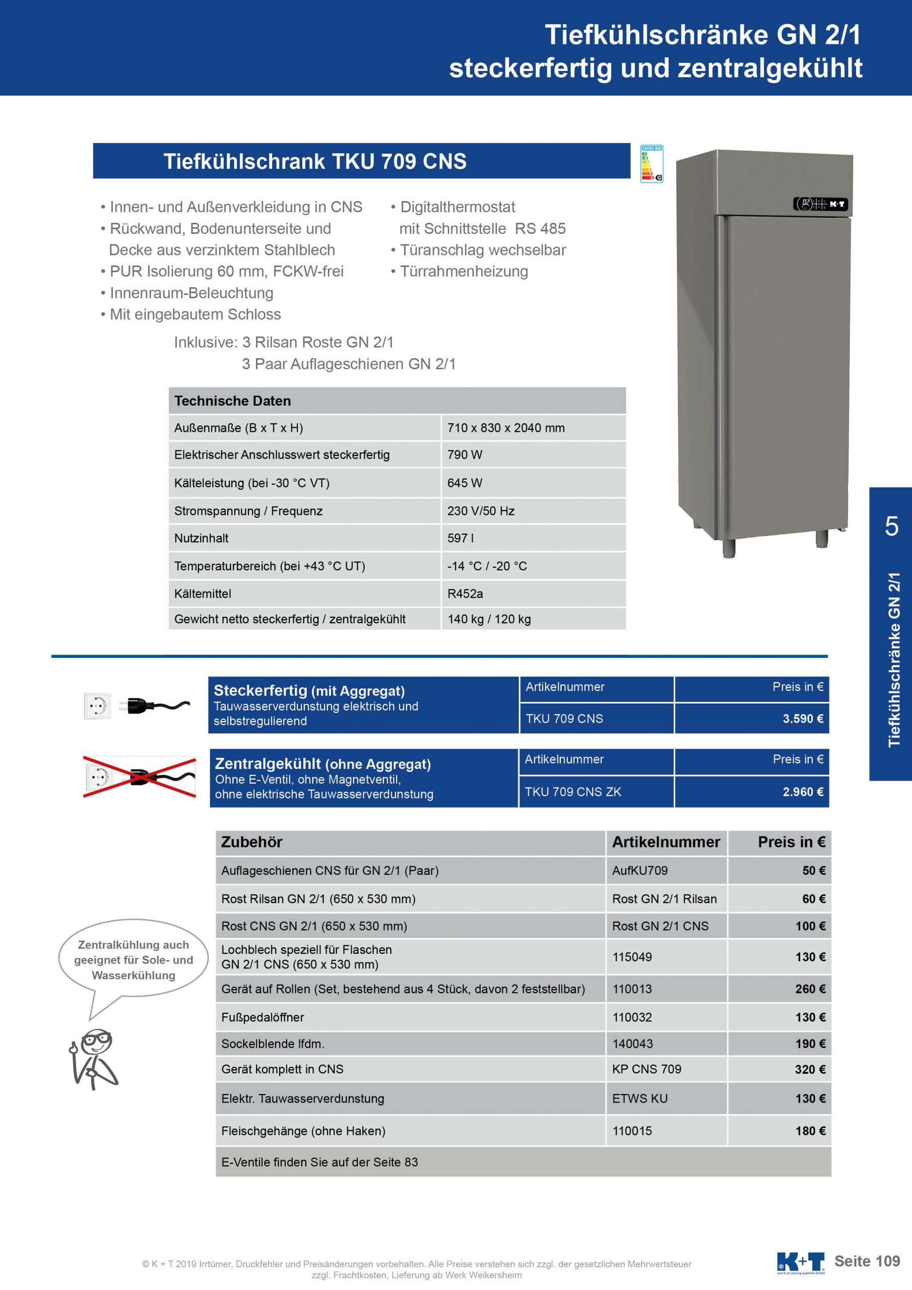 Tiefkühlschränke GN 2_1 Tiefkühlschrank zentralgekühlt