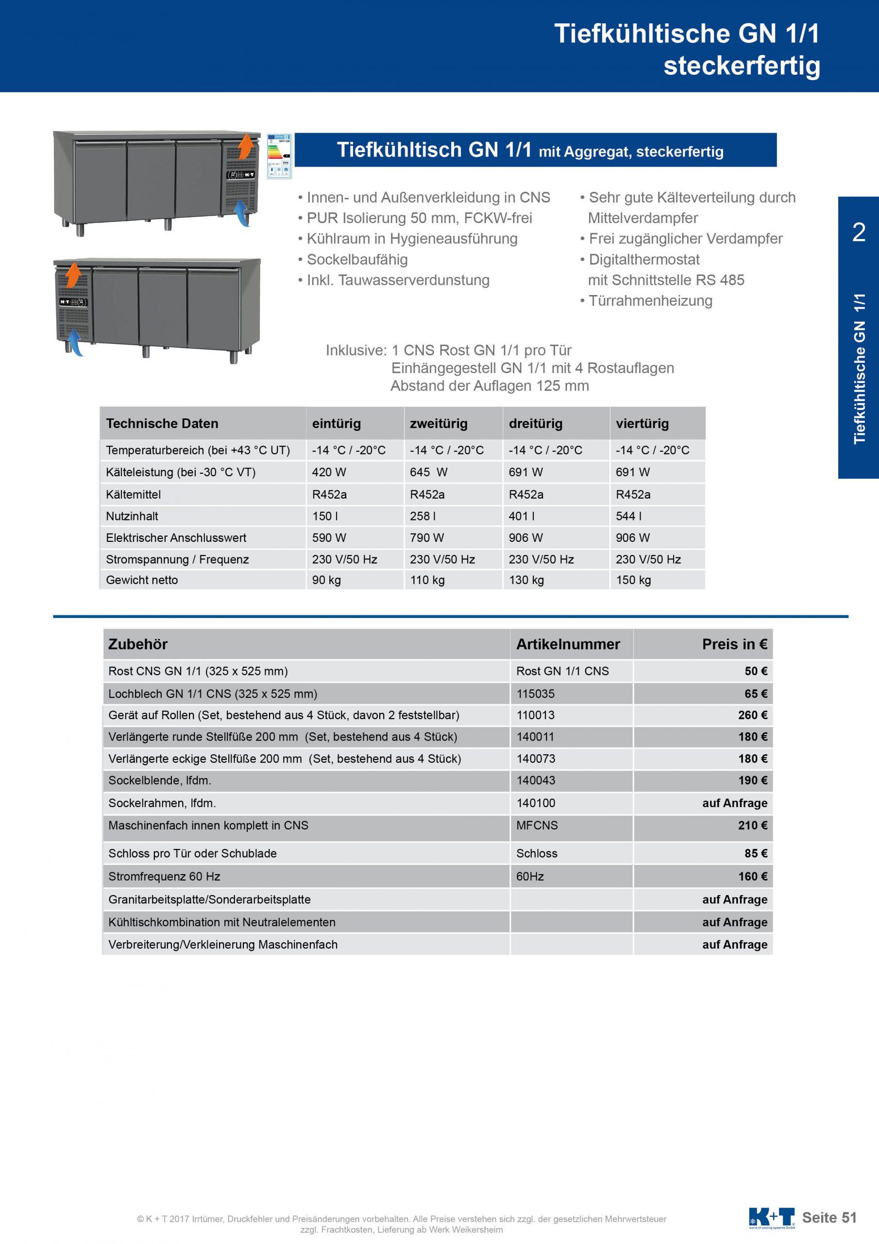Tiefkühltisch GN 1_1 Korpus 650 steckerfertig 2