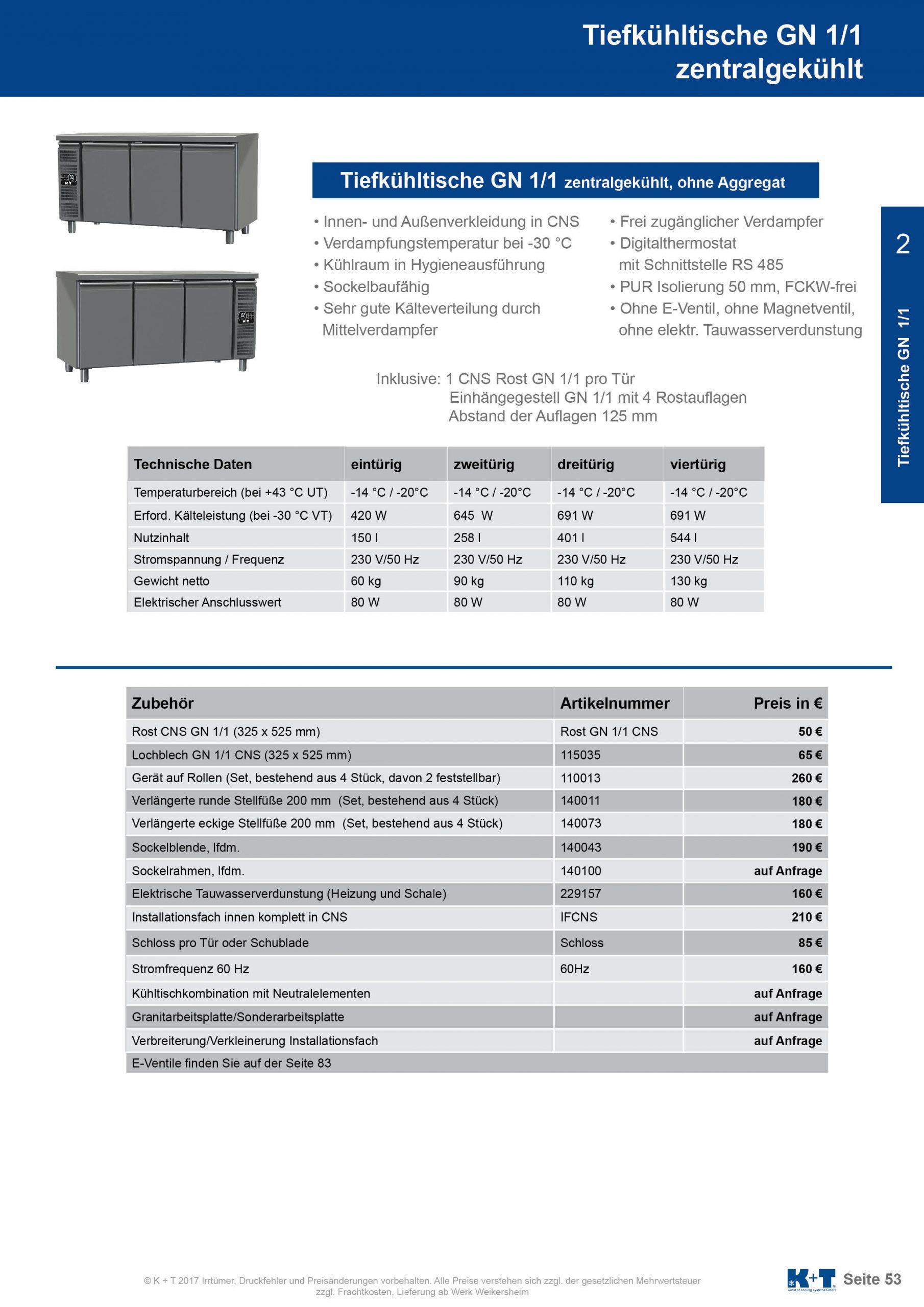 Tiefkühltisch GN 1_1 Korpus 650 zentralgekühlt 2