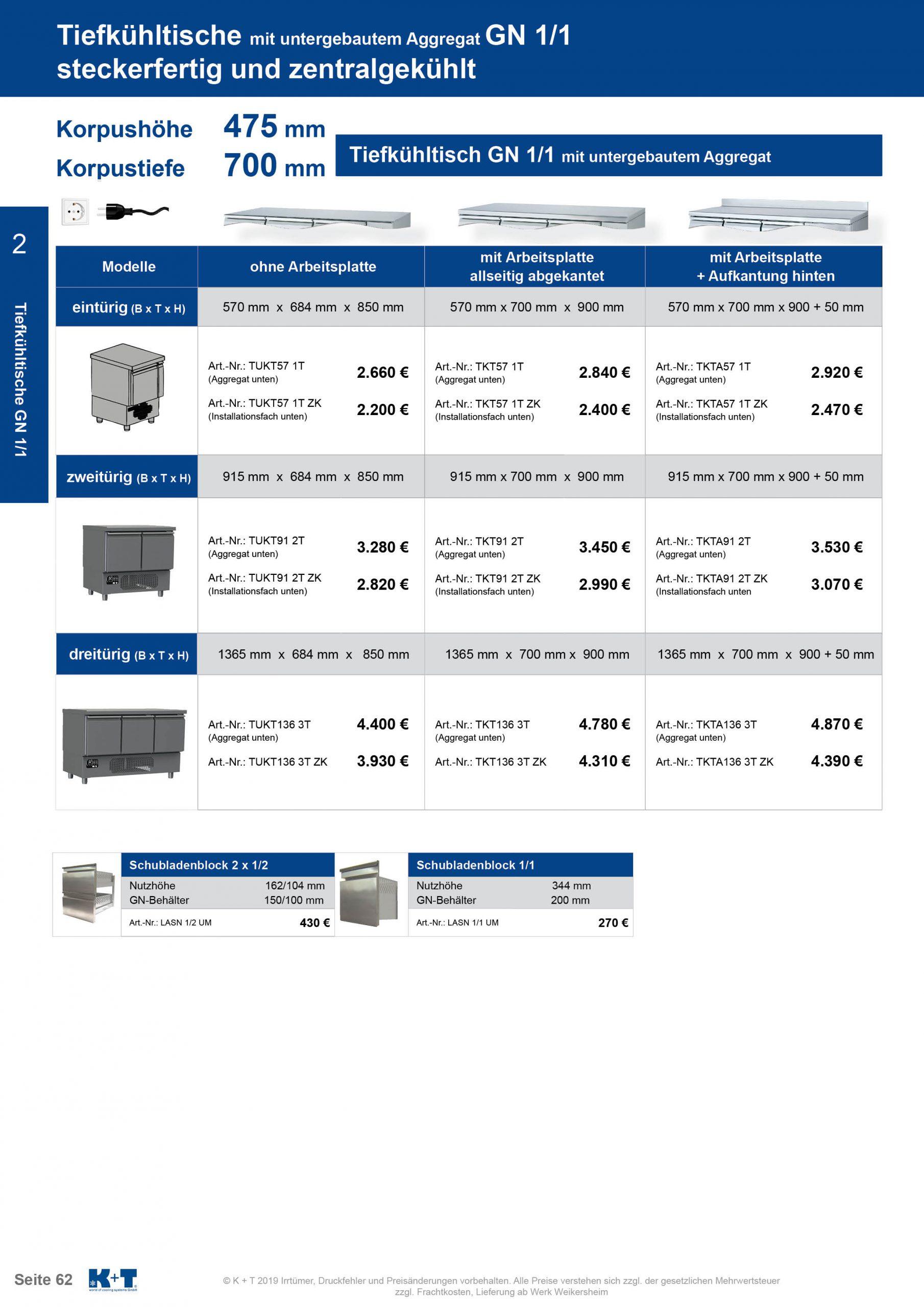 Tiefkühltisch mit untergebautem Aggregat steckerfertig 1