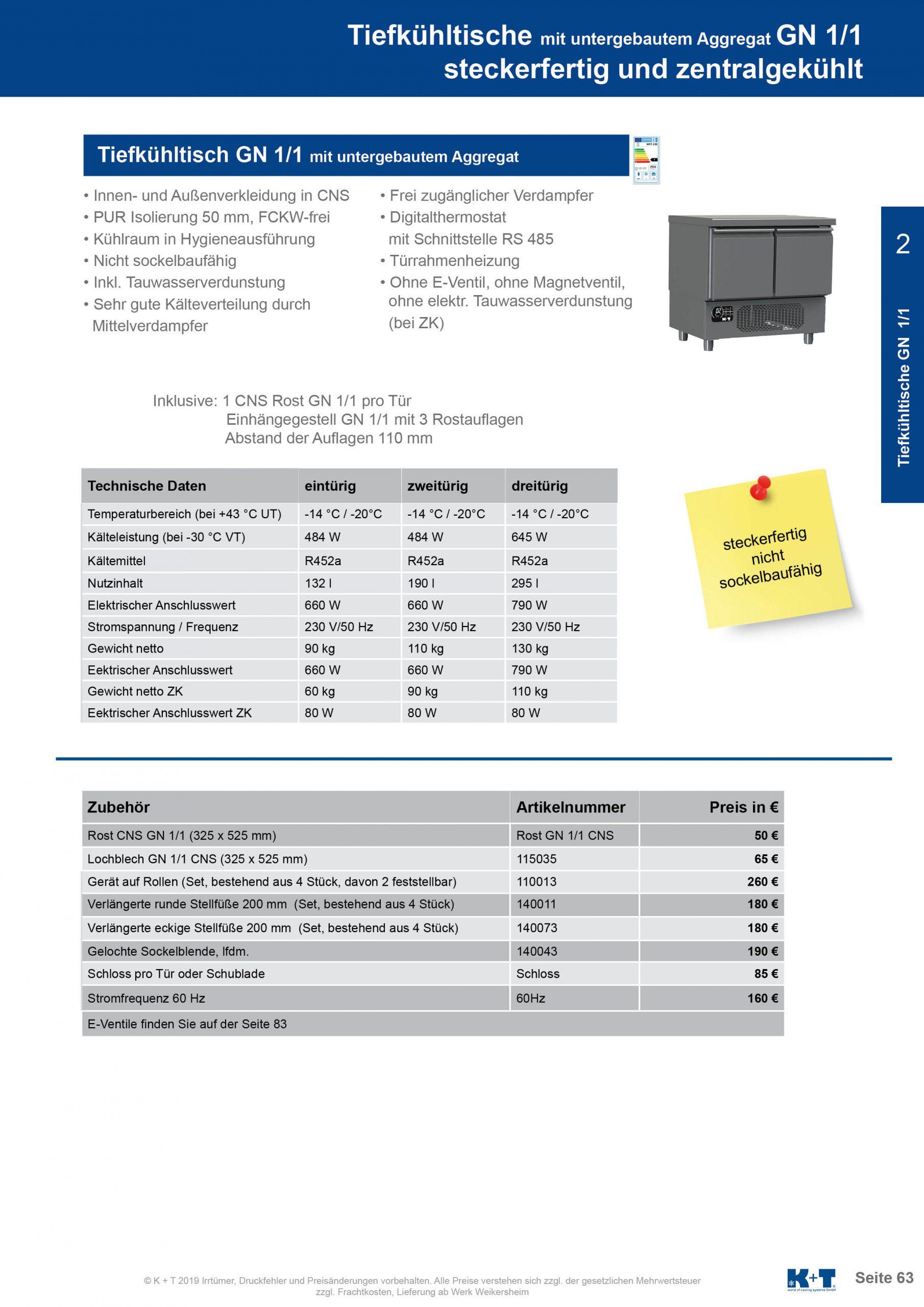 Tiefkühltisch mit untergebautem Aggregat steckerfertig 2