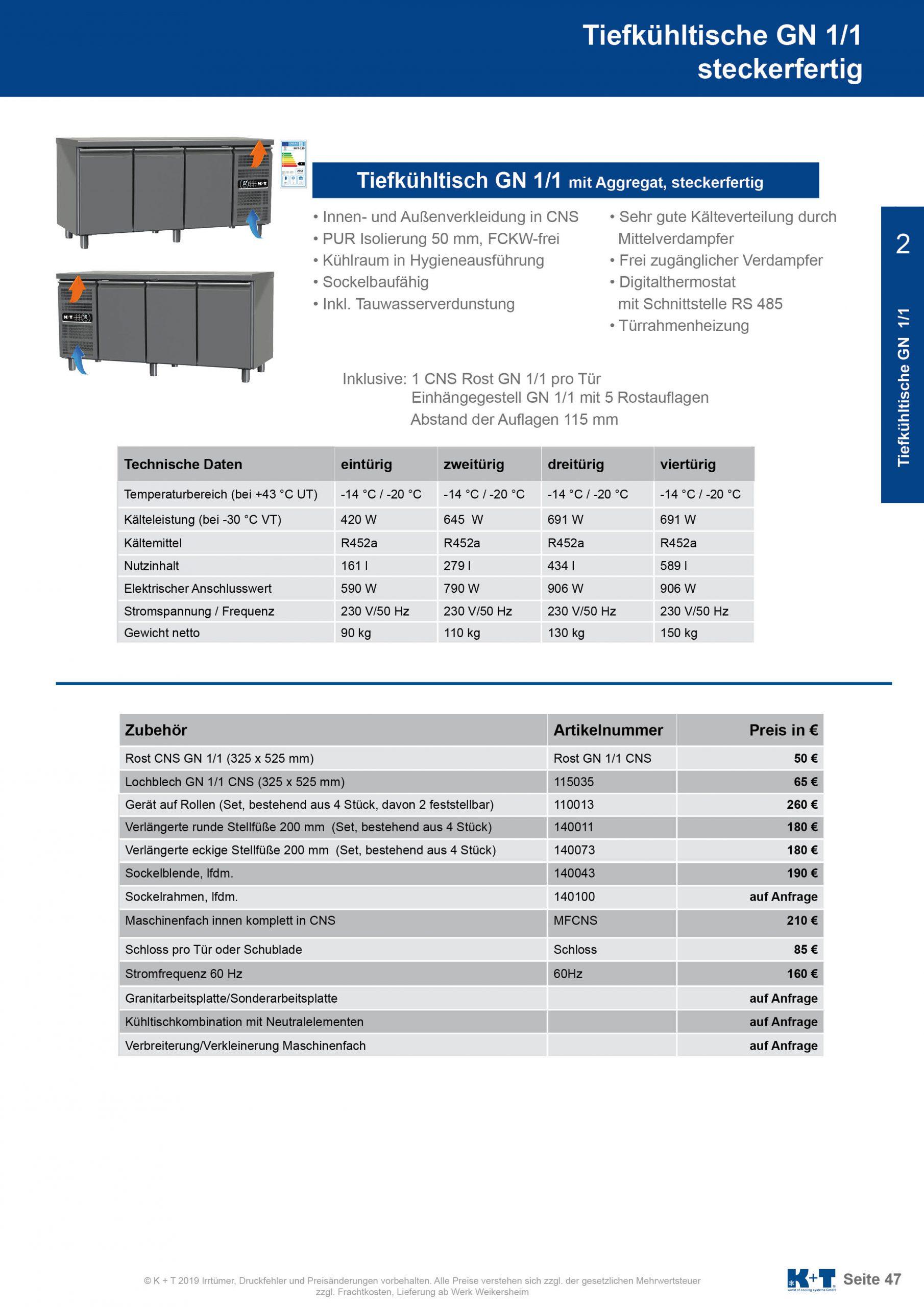 Tiefkühltisch GN 1_1 Korpus 700 steckerfertig 2