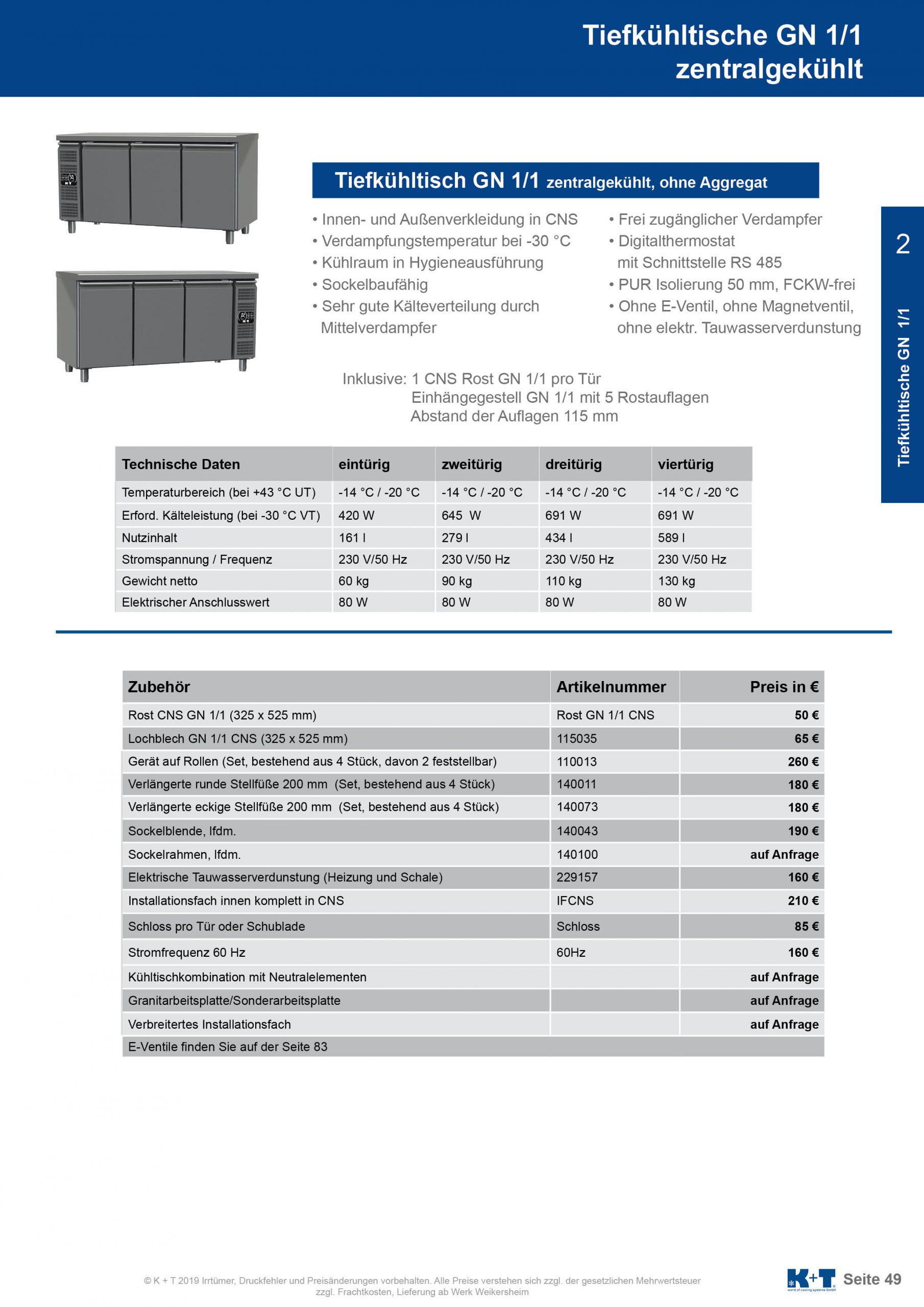 Tiefkühltisch GN 1_1 Korpus 700 zentralgekühlt 2